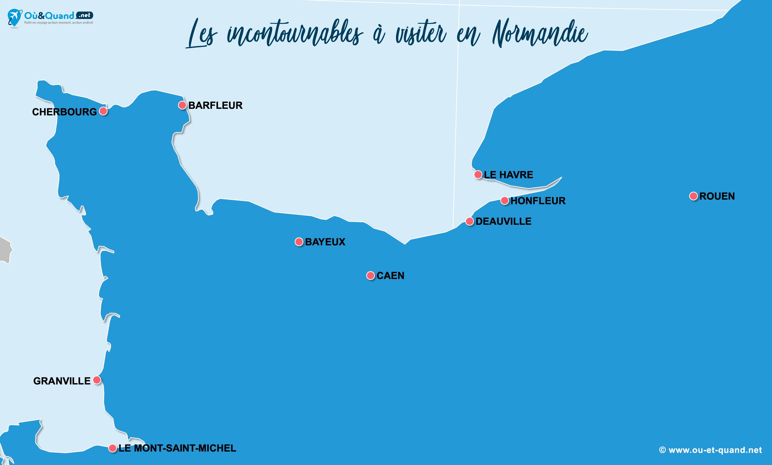 Carte Incontournables Normandie
