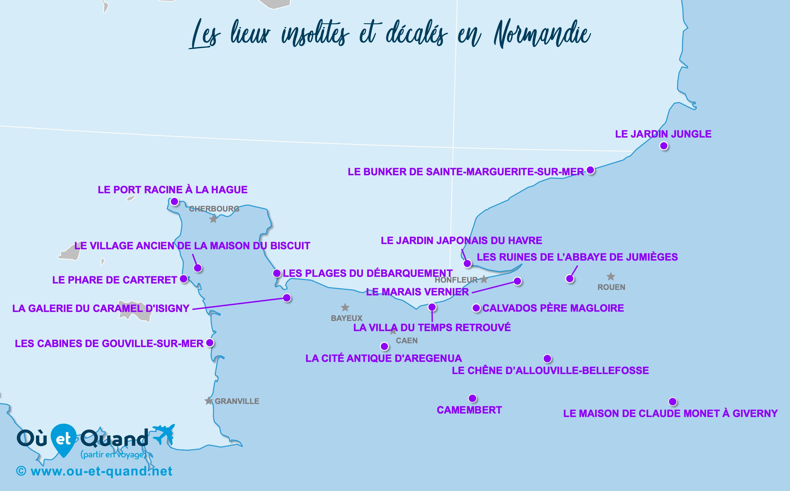 Carte Normandie : La Normandie insolite