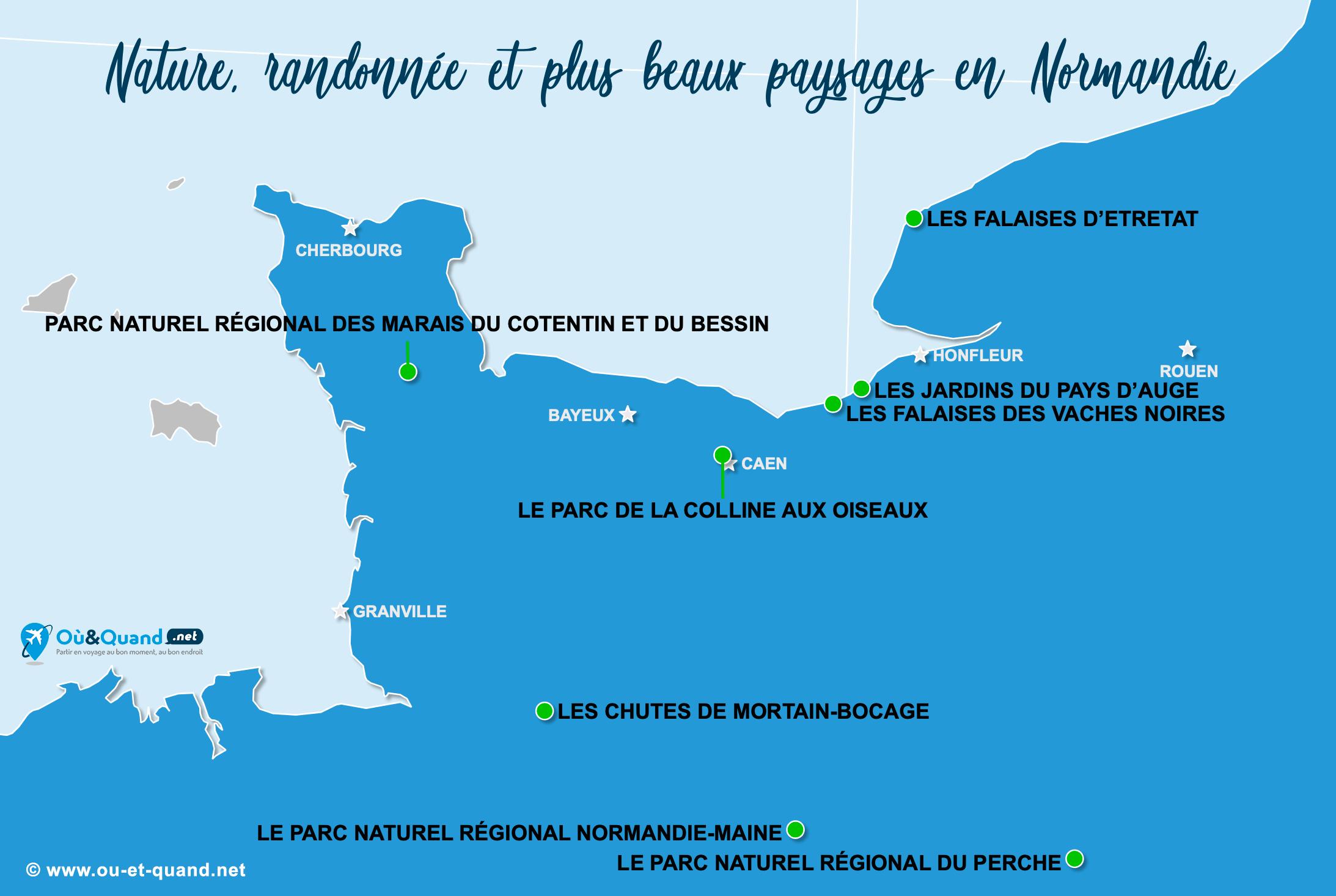 Carte Normandie : Les plus beaux paysages de la Normandie