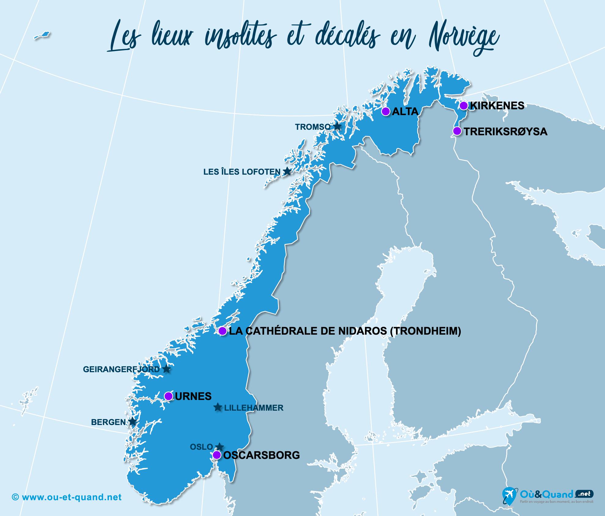 Carte Norvège : La Norvège insolite
