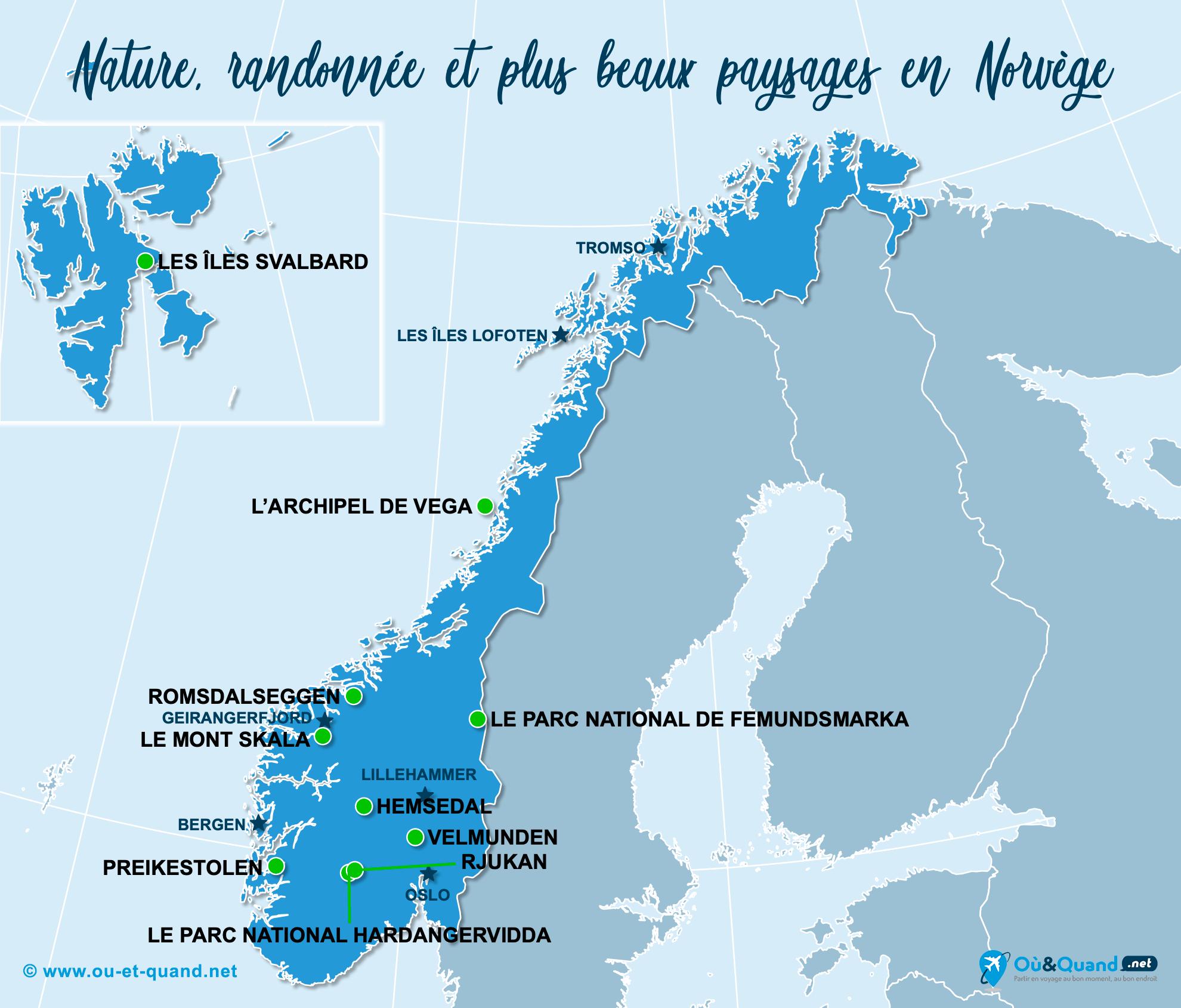 Carte Norvège : Les plus beaux paysages de la Norvège