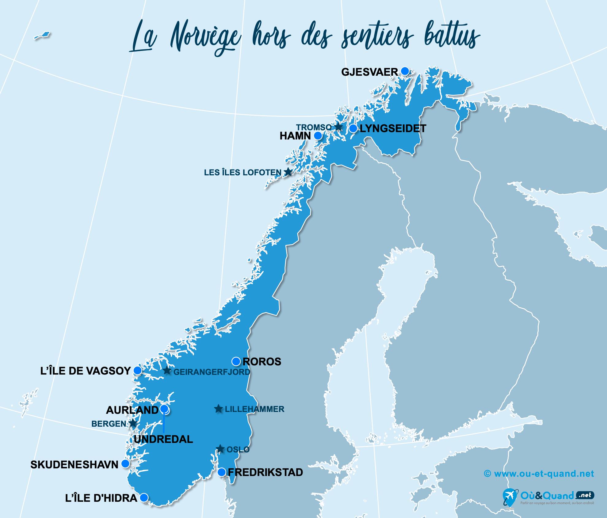 Carte Norvège : La Norvège hors des sentiers battus
