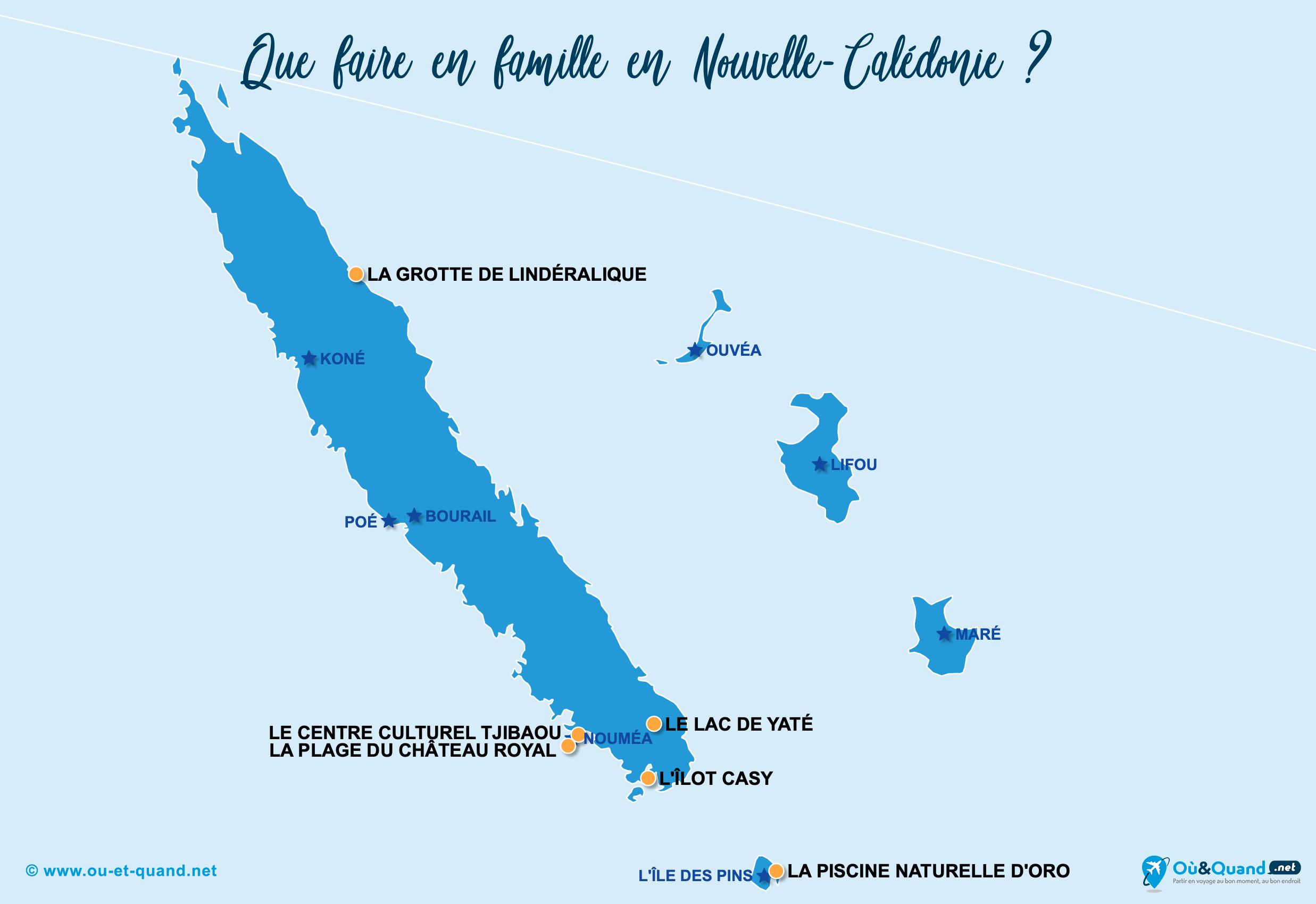 Carte Nouvelle-Calédonie : La Nouvelle-Calédonie en famille