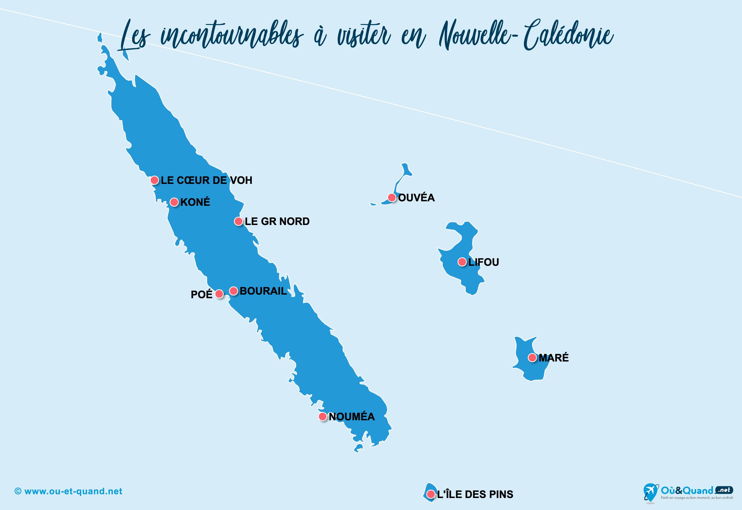 Carte Nouvelle-Calédonie : Les lieux incontournables en Nouvelle-Calédonie