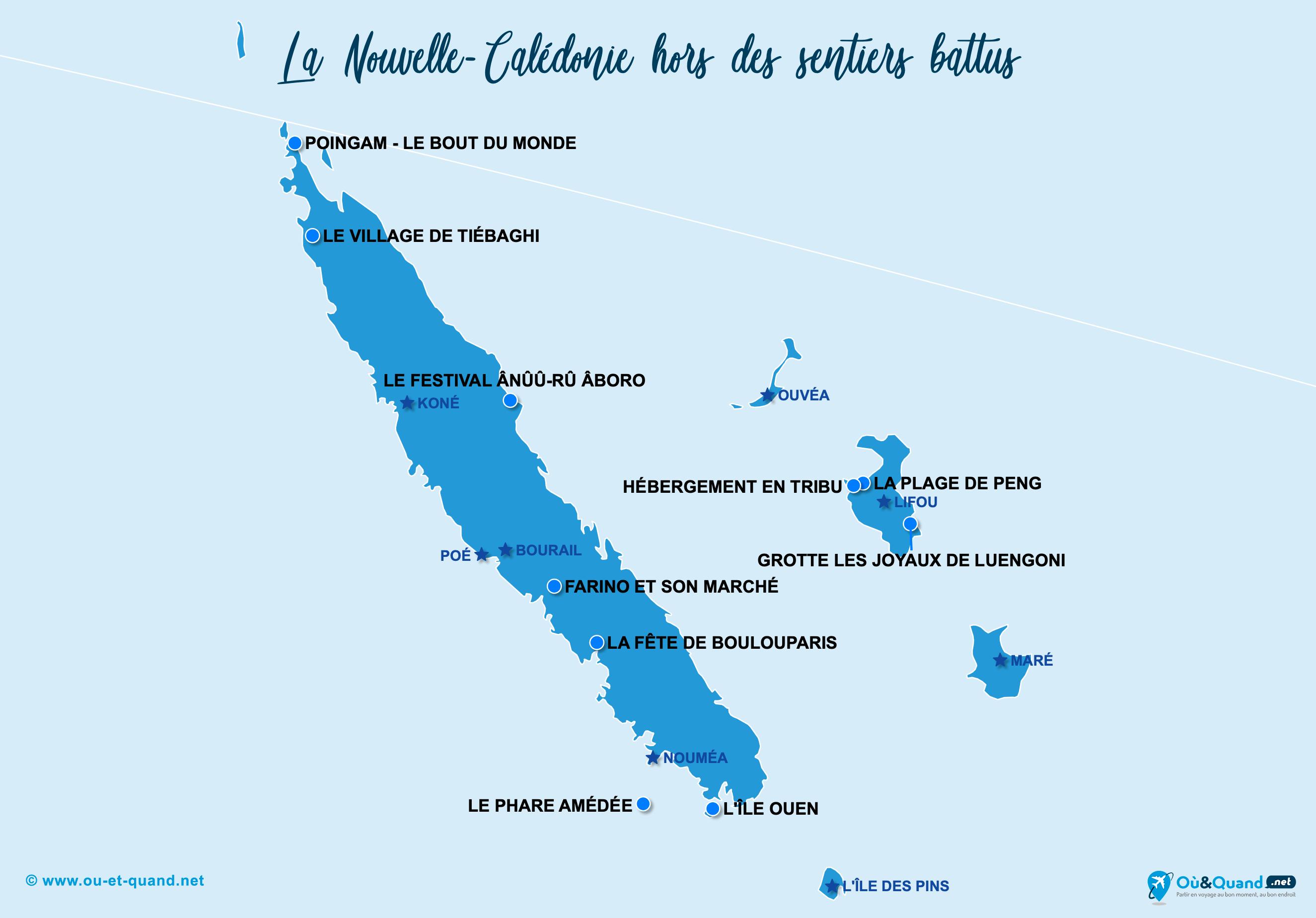 Carte Nouvelle-Calédonie : La Nouvelle-Calédonie hors des sentiers battus