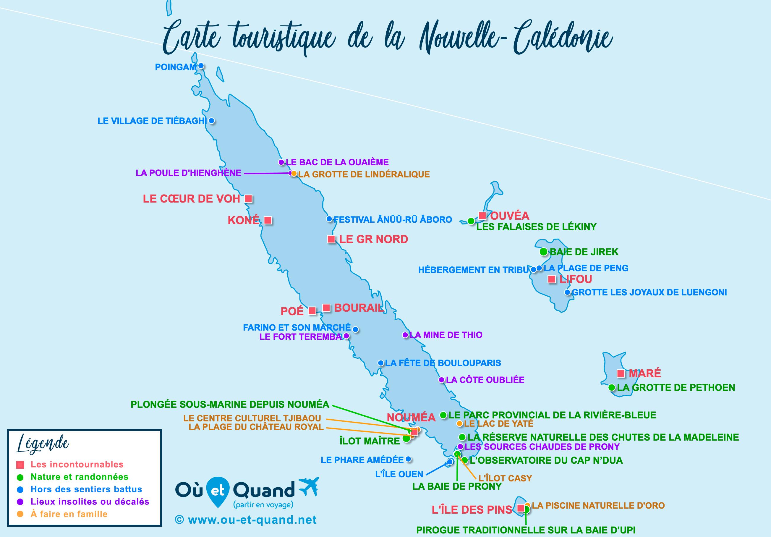 Carte Nouvelle-Calédonie : tous les lieux à visiter lors de votre voyage