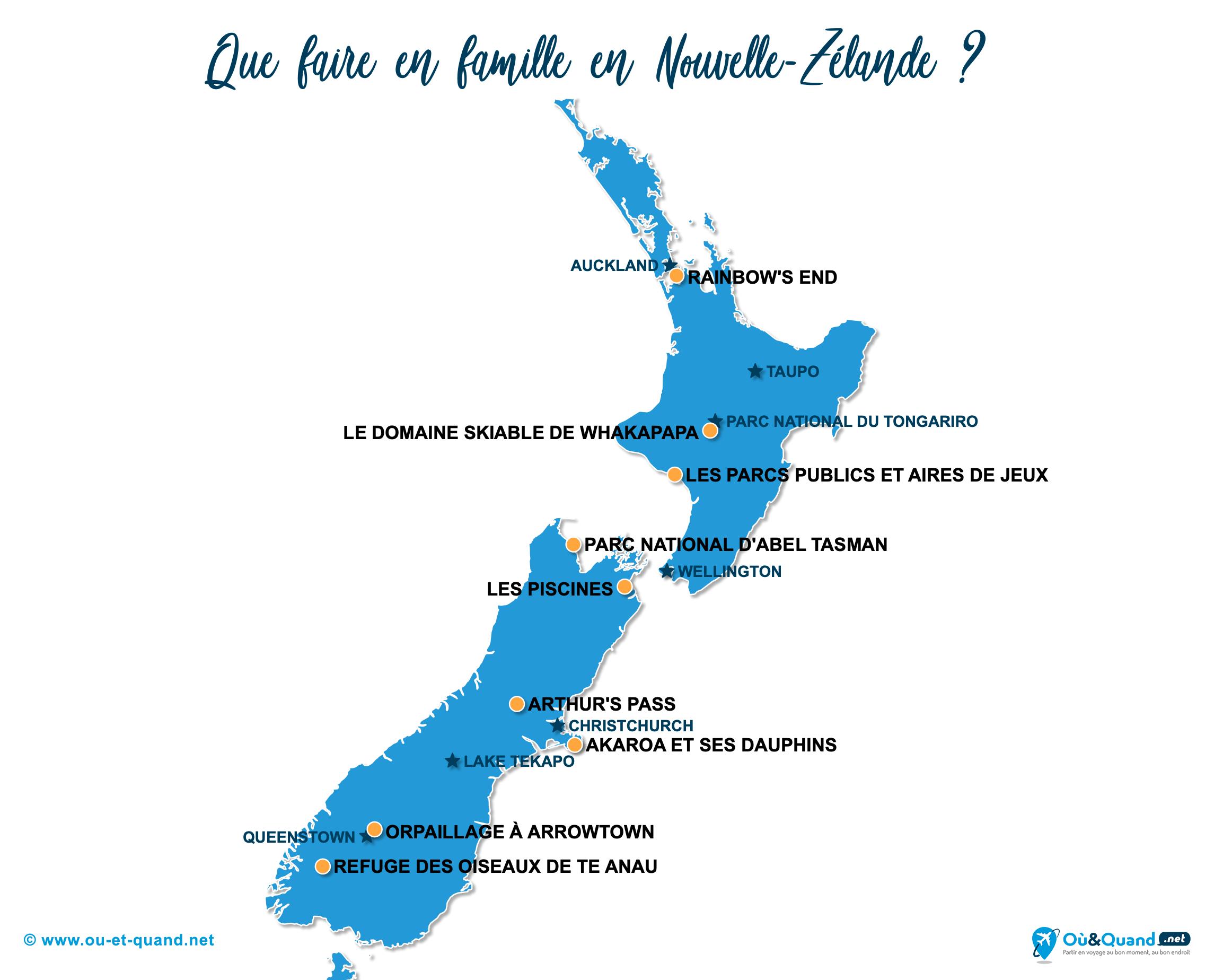 Carte Nouvelle-Zélande : La Nouvelle-Zélande en famille