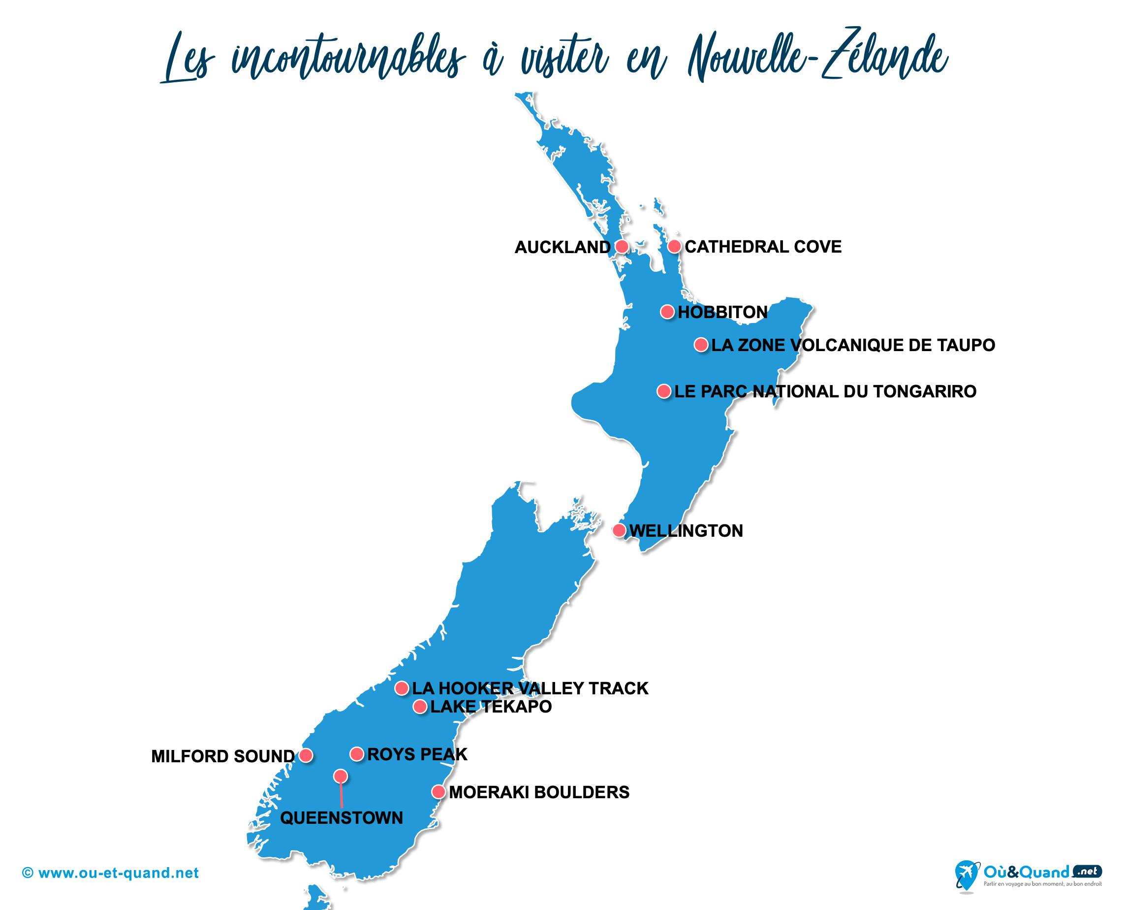 Carte Nouvelle-Zélande : Les lieux incontournables en Nouvelle-Zélande