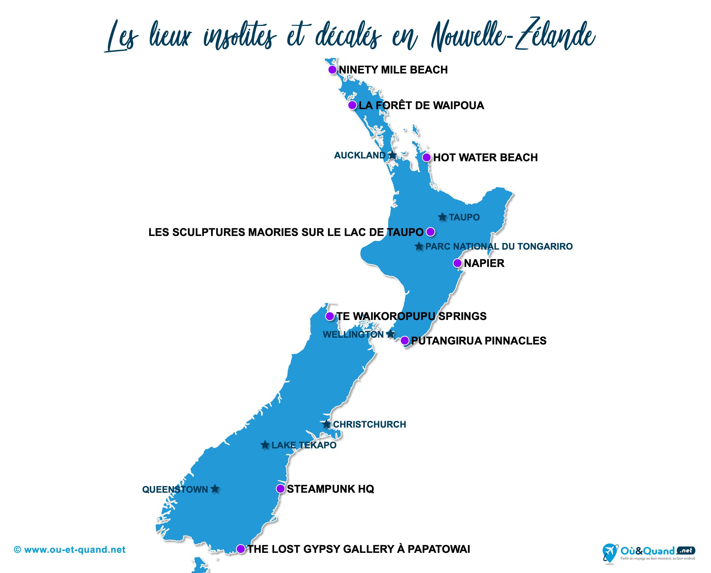 Carte Nouvelle-Zélande : La Nouvelle-Zélande insolite