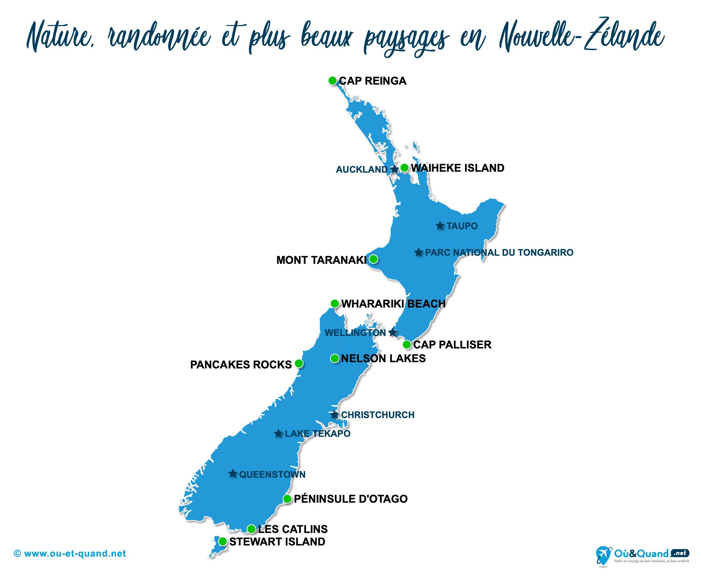 Carte Nouvelle-Zélande : Les plus beaux paysages de la Nouvelle-Zélande