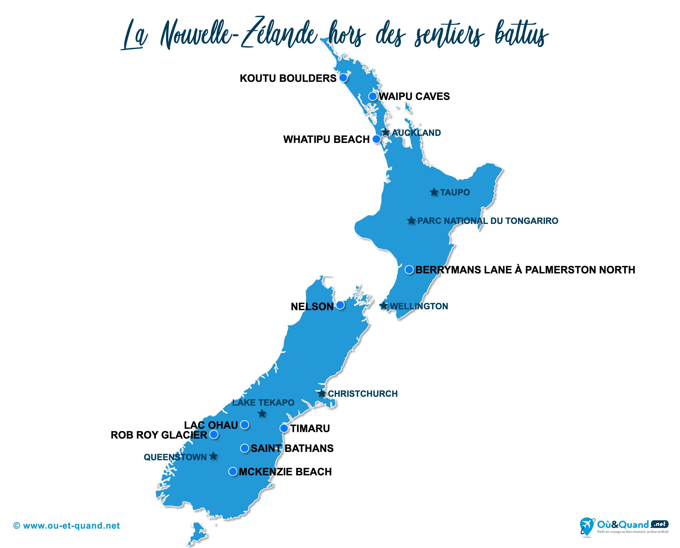 Carte Nouvelle-Zélande : La Nouvelle-Zélande hors des sentiers battus
