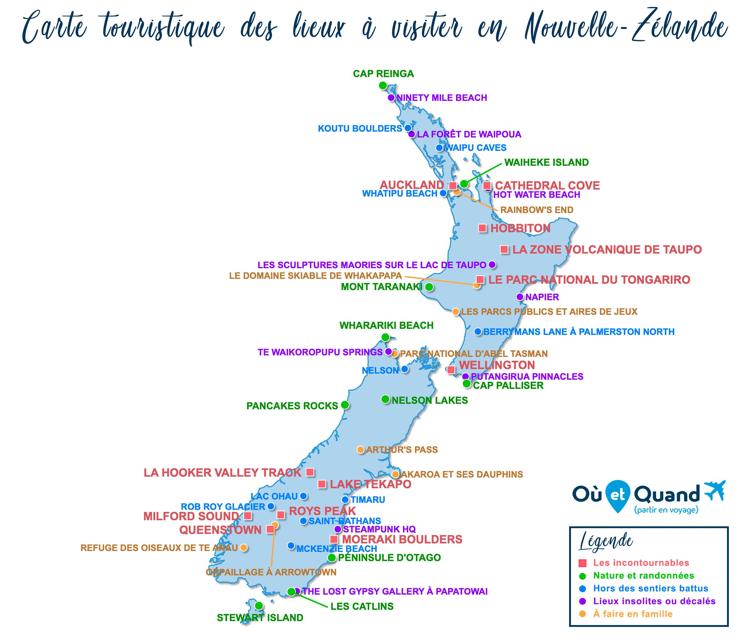 Carte Nouvelle-Zélande : tous les lieux à visiter lors de votre voyage