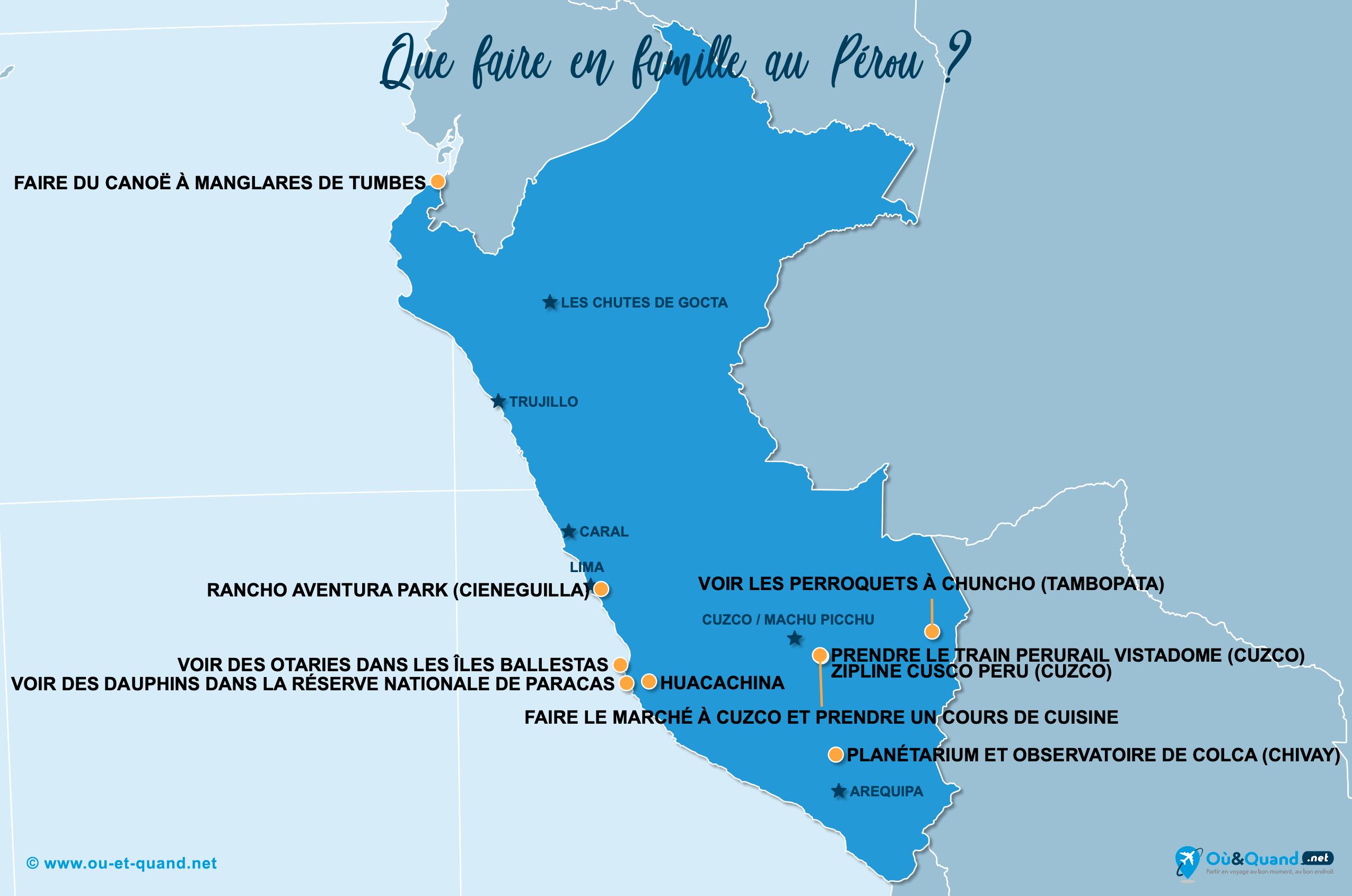 Carte Pérou : Le Pérou en famille