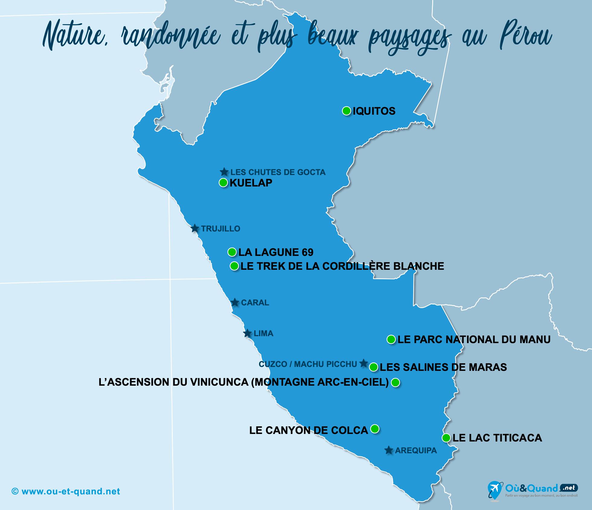 Carte Pérou : Les plus beaux paysages du Pérou