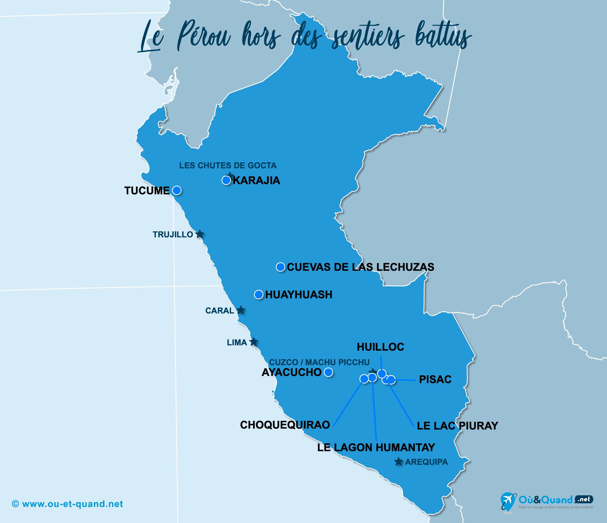 Carte Pérou : Le Pérou hors des sentiers battus