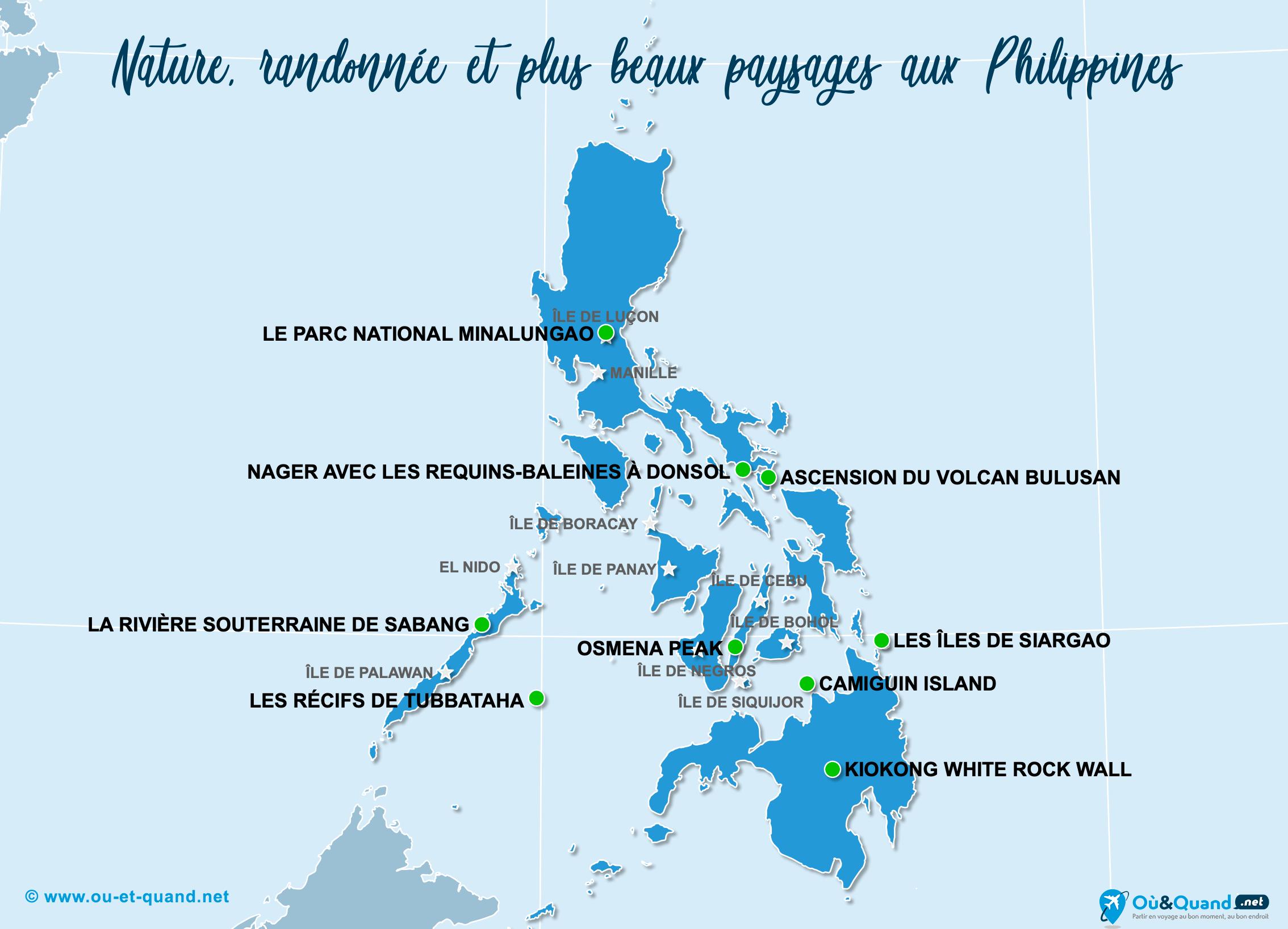 Carte Philippines : Les plus beaux paysages des Philippines