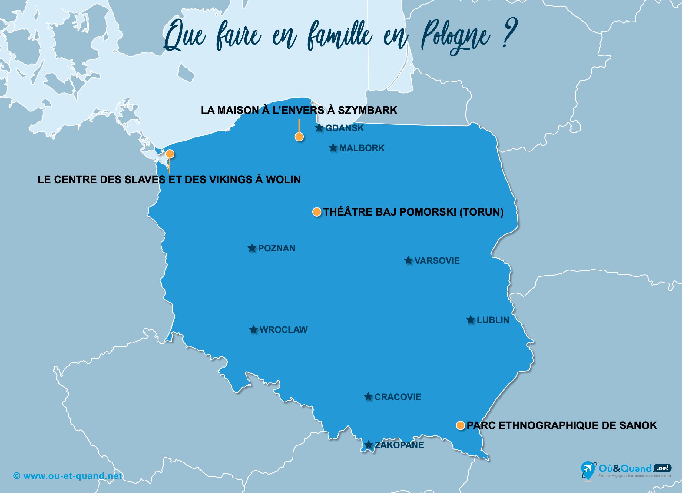 Carte Pologne : La Pologne en famille
