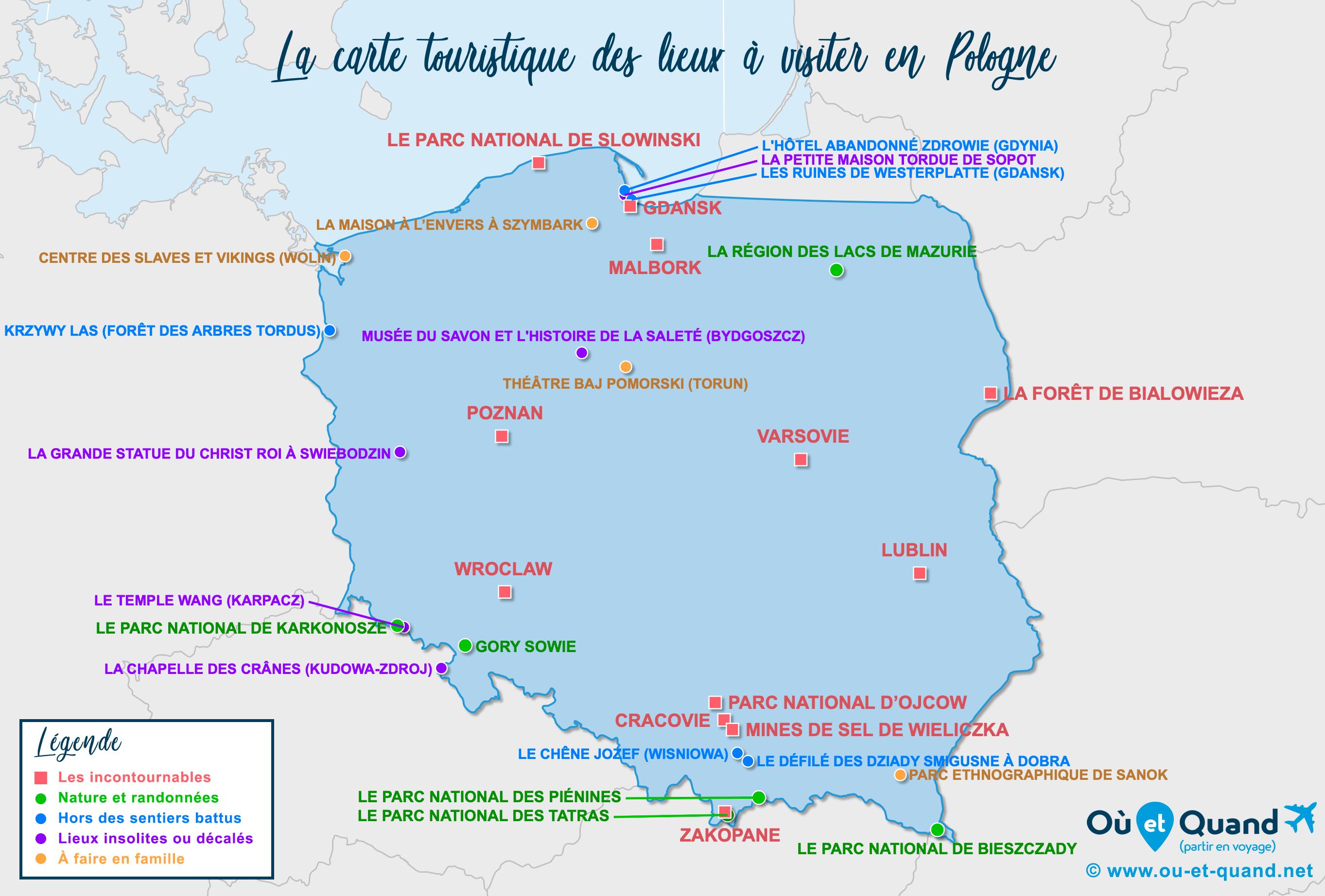 Carte Pologne : tous les lieux à visiter lors de votre voyage