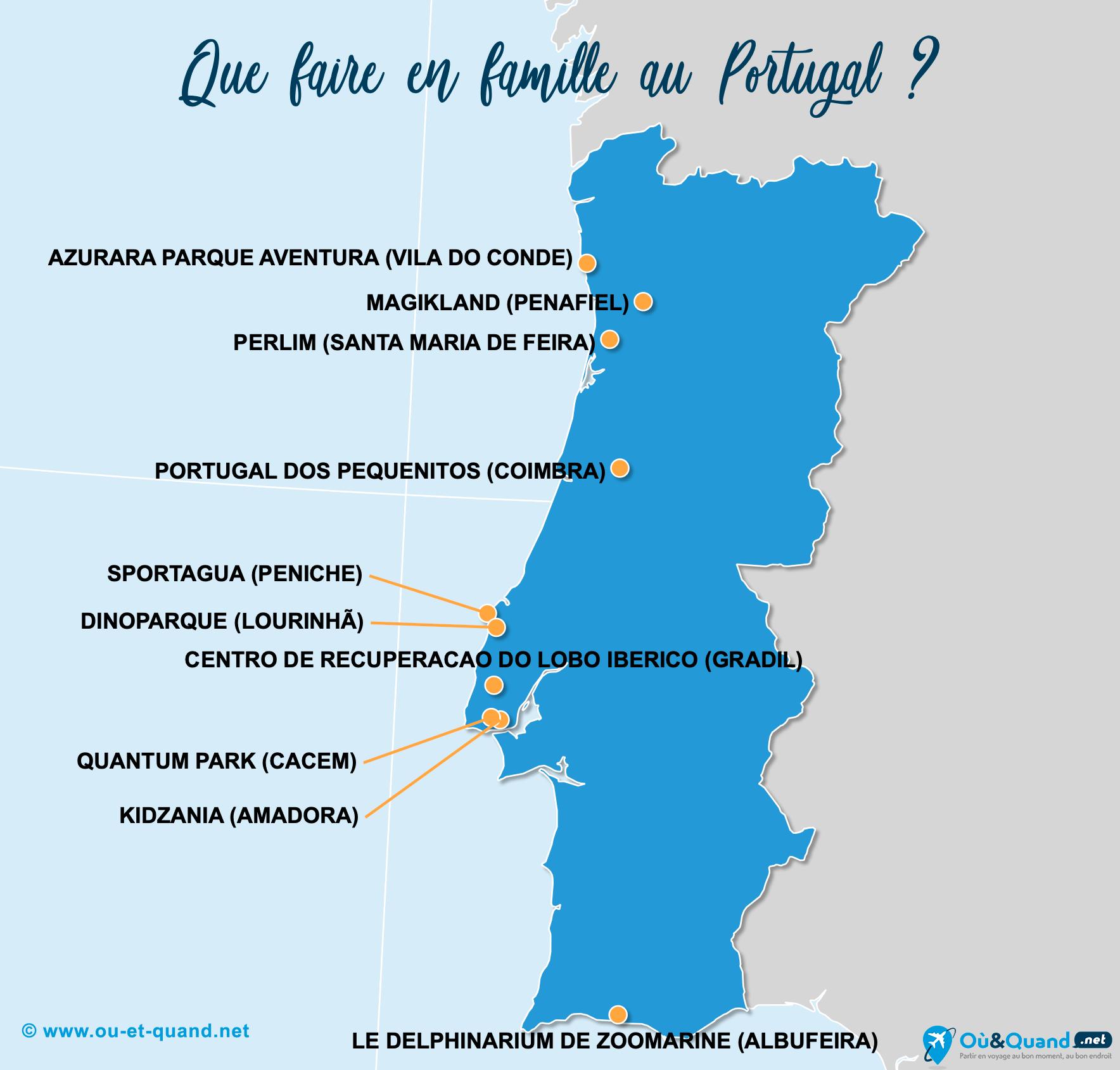 Carte Portugal : Le Portugal en famille