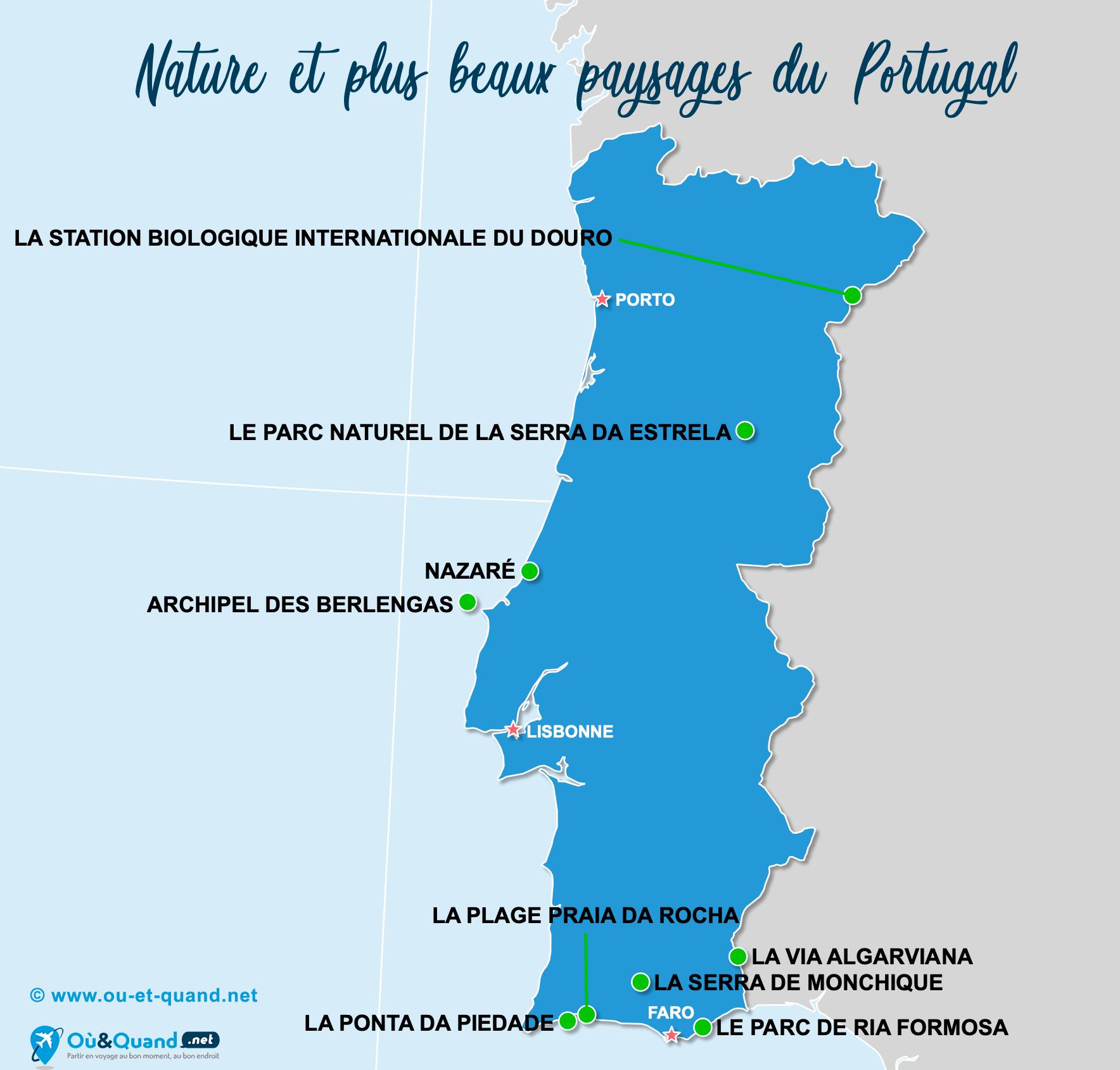 Carte Portugal : Les plus beaux paysages du Portugal
