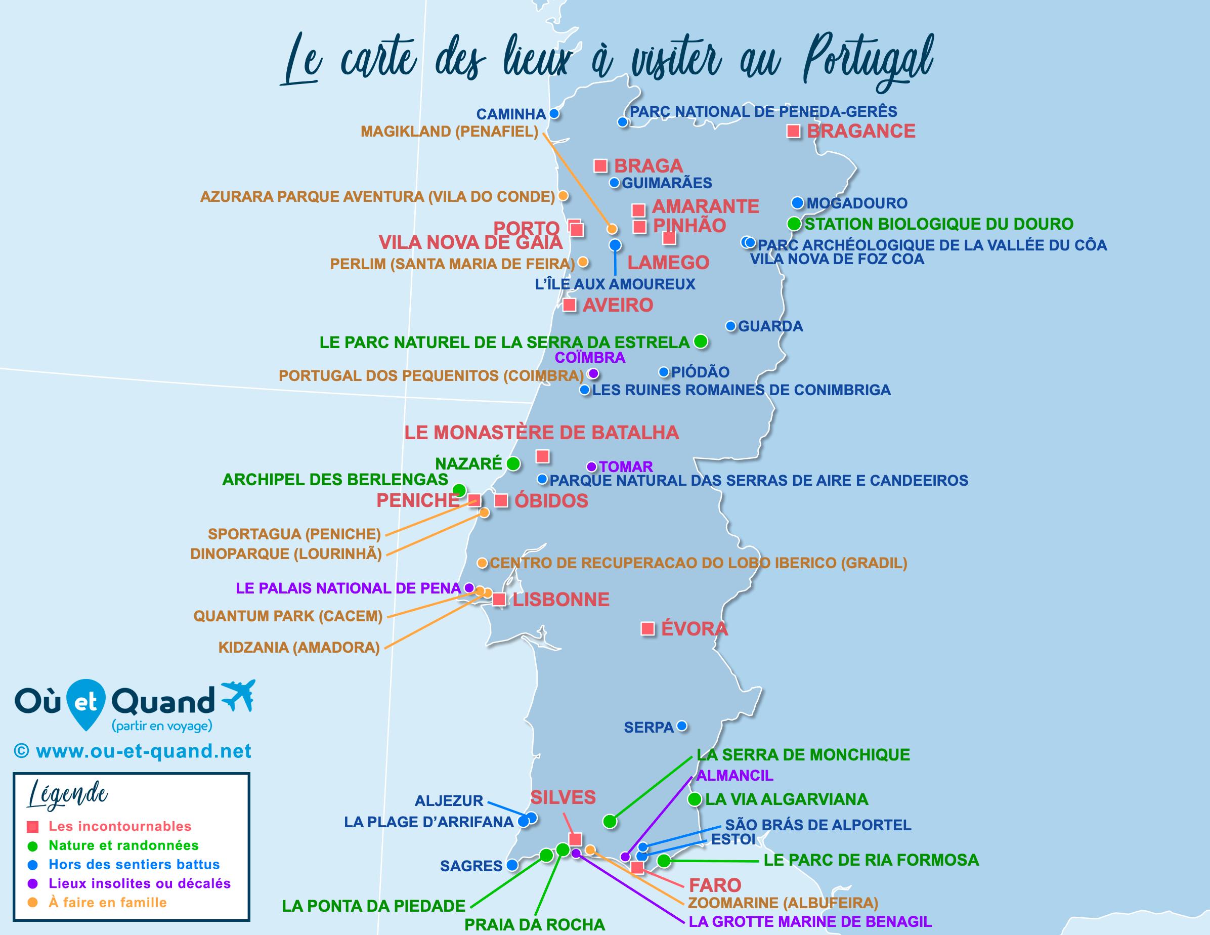 Carte Portugal : tous les lieux à visiter lors de votre voyage
