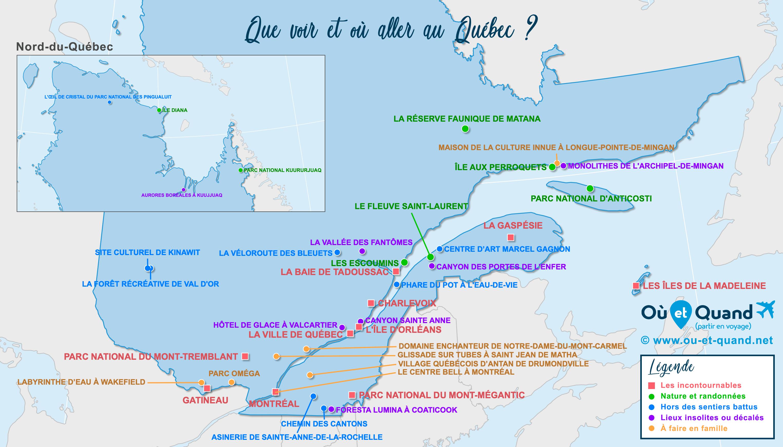 Carte Québec : tous les lieux à visiter lors de votre voyage