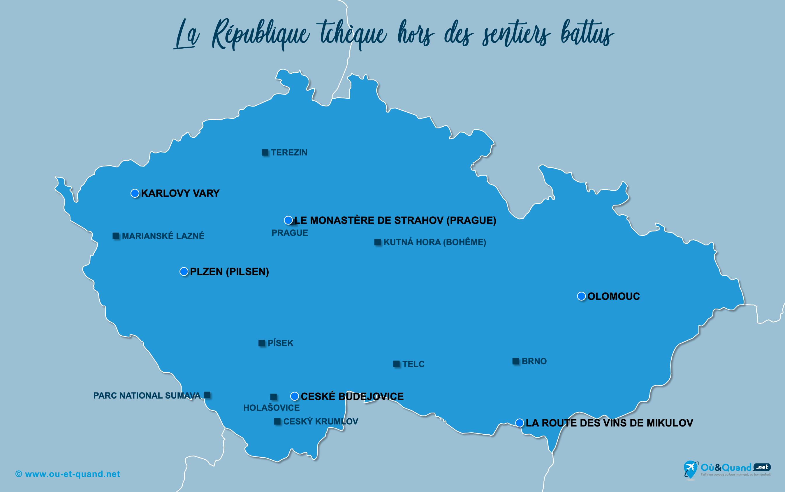 Carte République tchèque : La République tchèque hors des sentiers battus