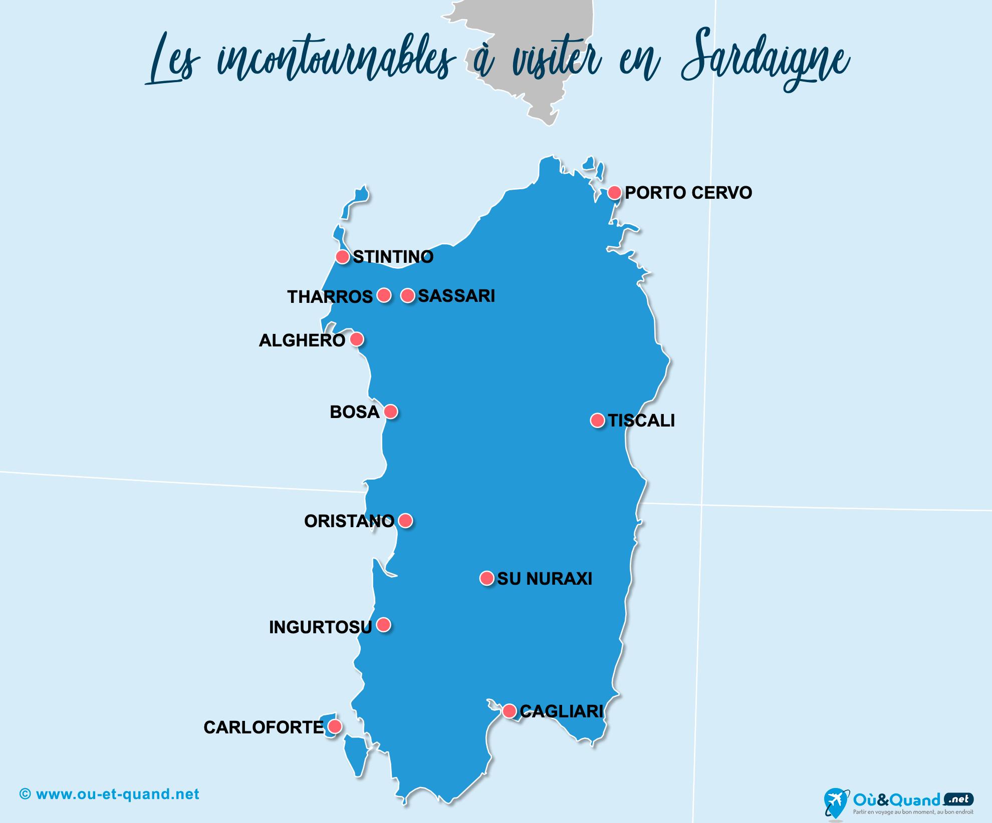 Carte Incontournables Sardaigne