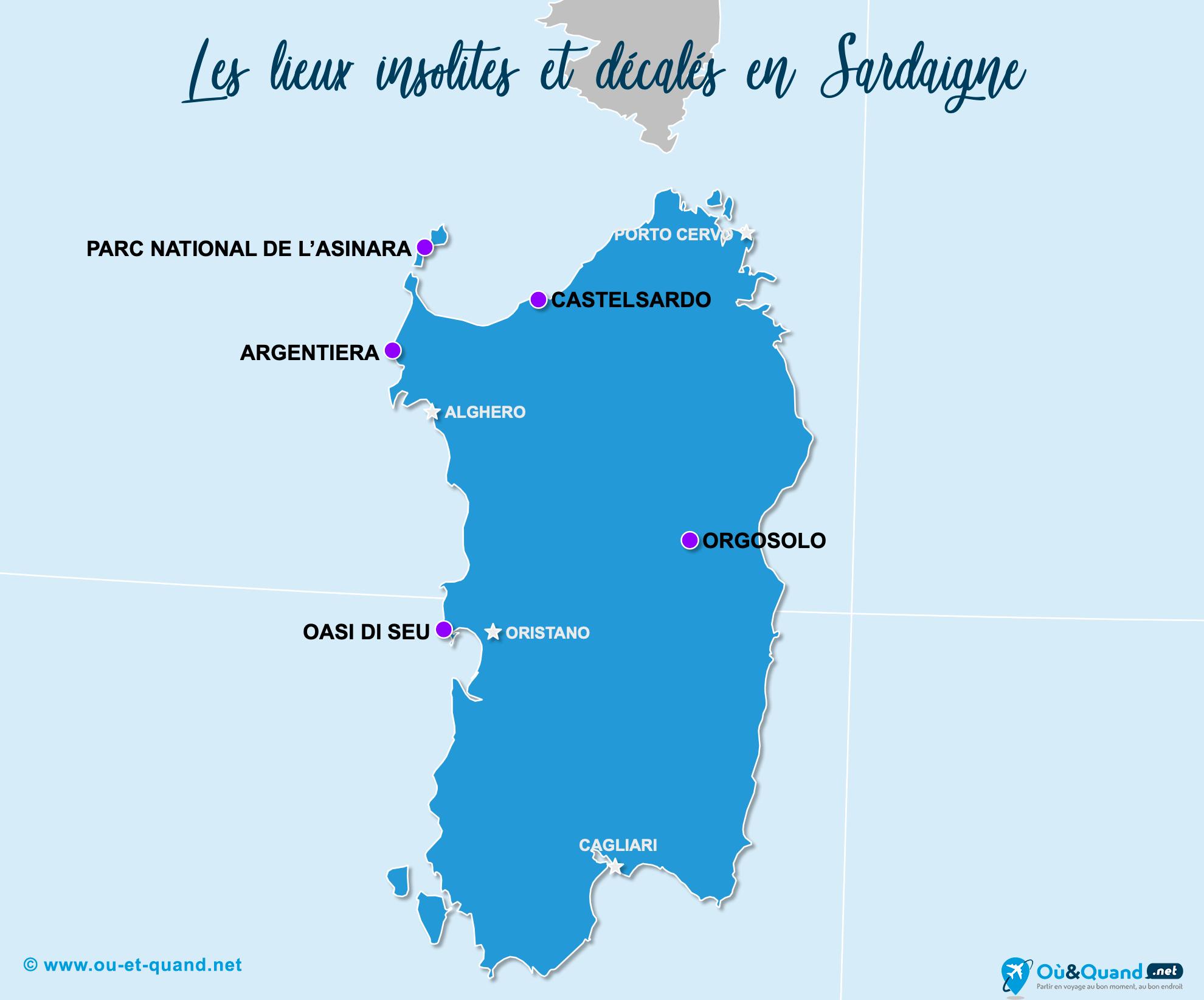 Carte Sardaigne : La Sardaigne insolite