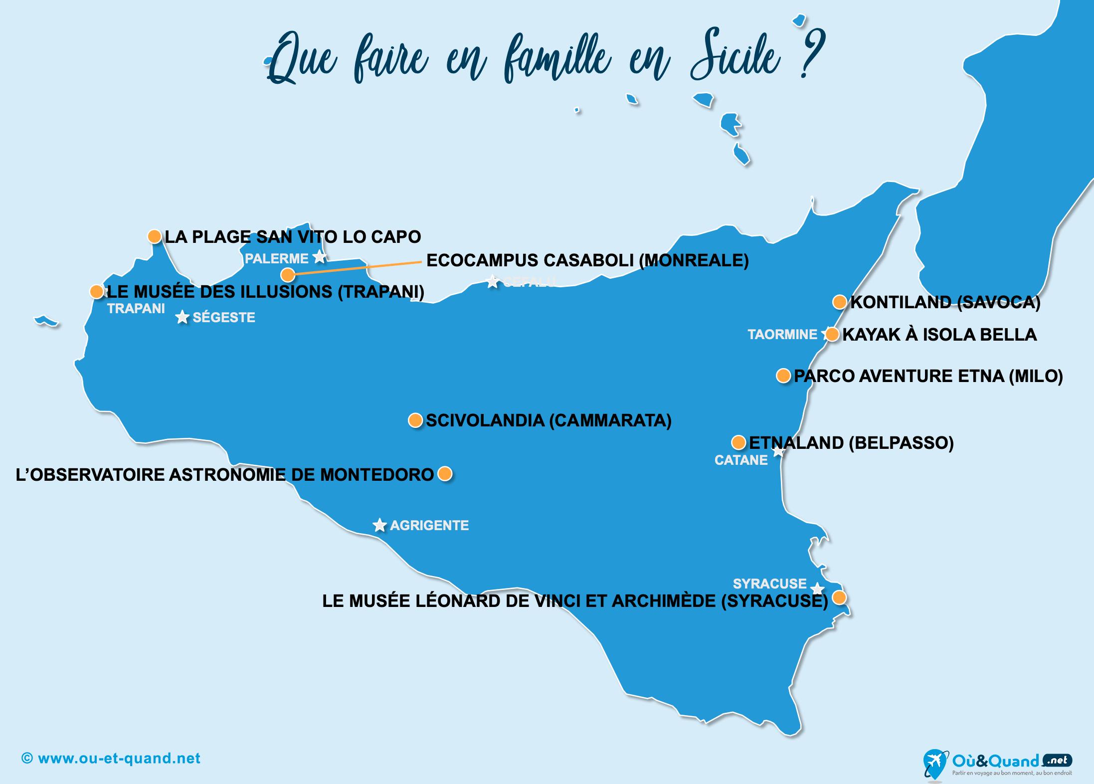 Carte Sicile : La Sicile en famille