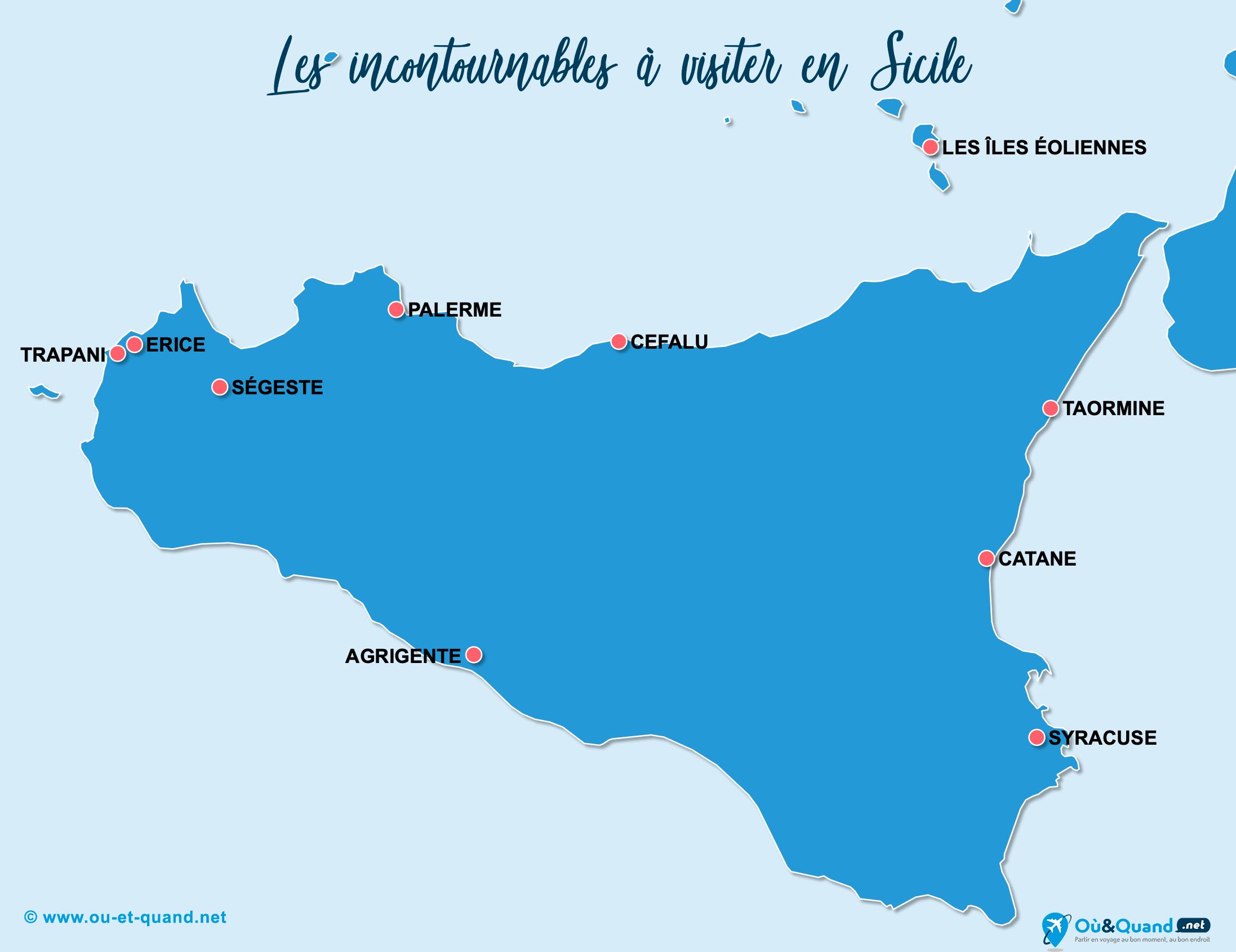 Carte Incontournables Sicile