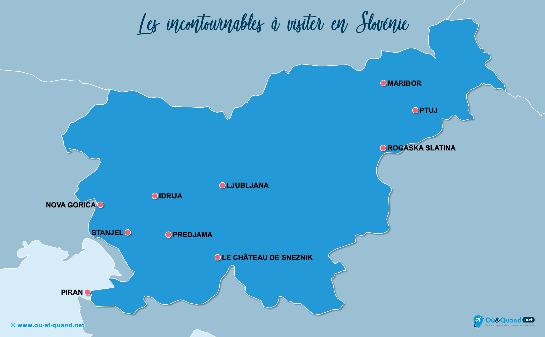 Carte Slovénie : Les lieux incontournables en Slovénie