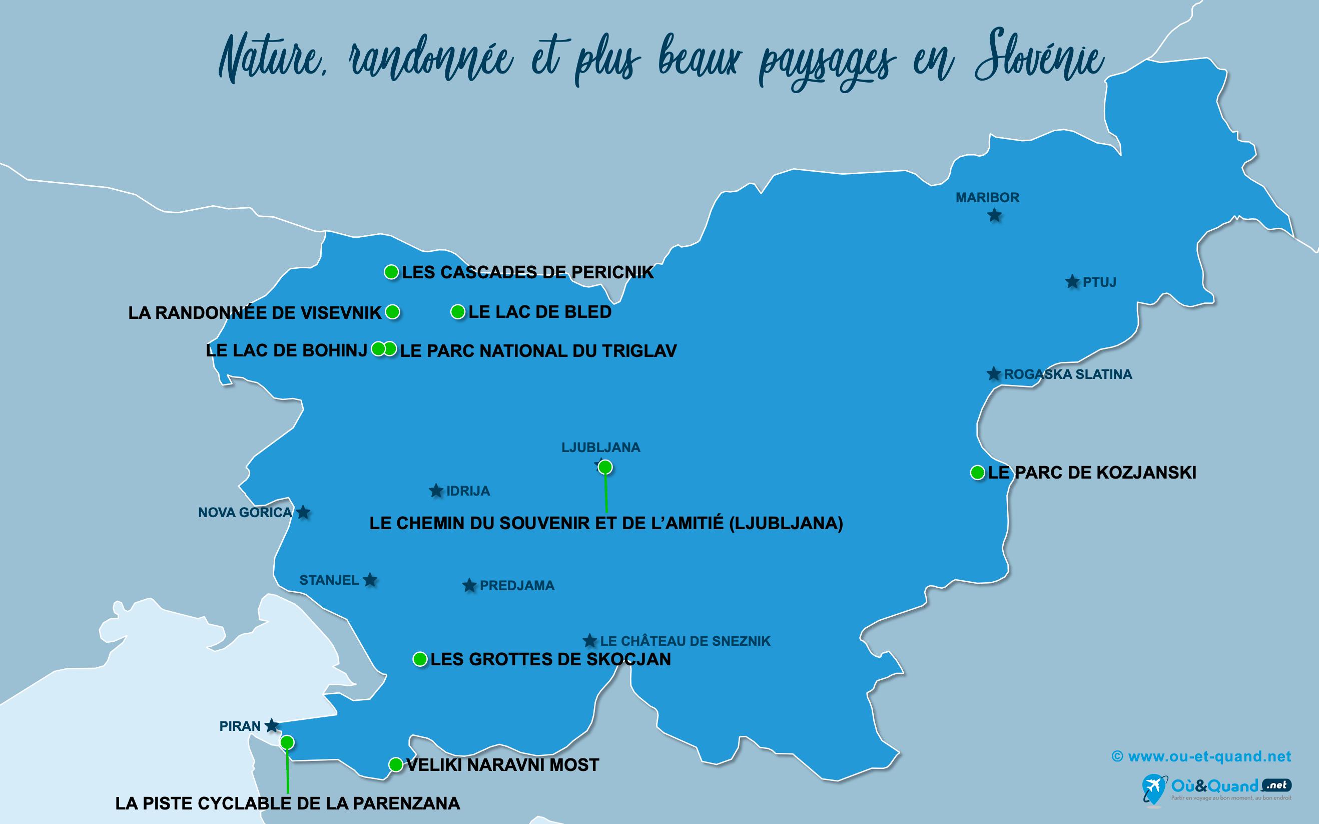 Carte Slovénie : Les plus beaux paysages de la Slovénie