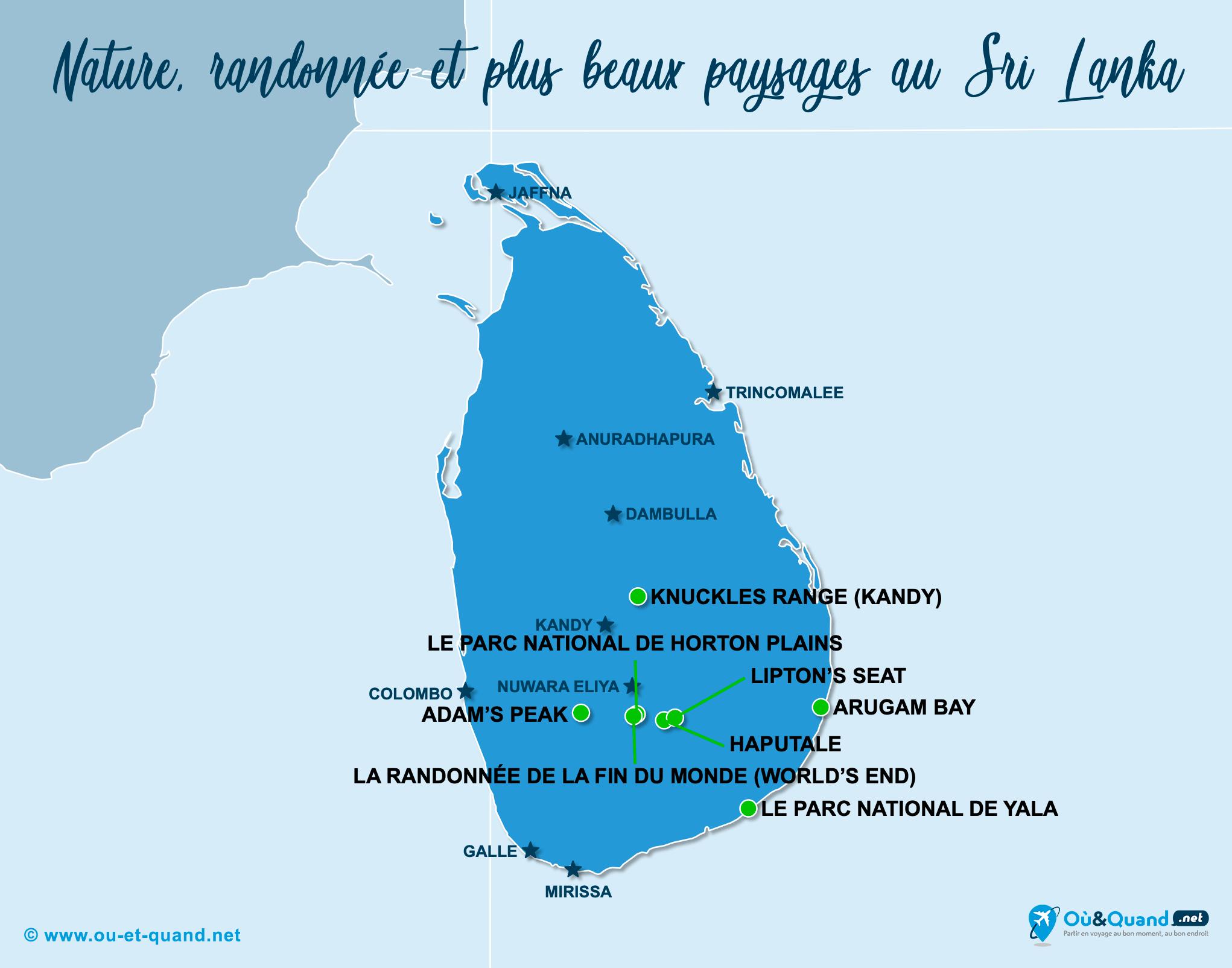 Carte Sri Lanka : Les plus beaux paysages du Sri Lanka