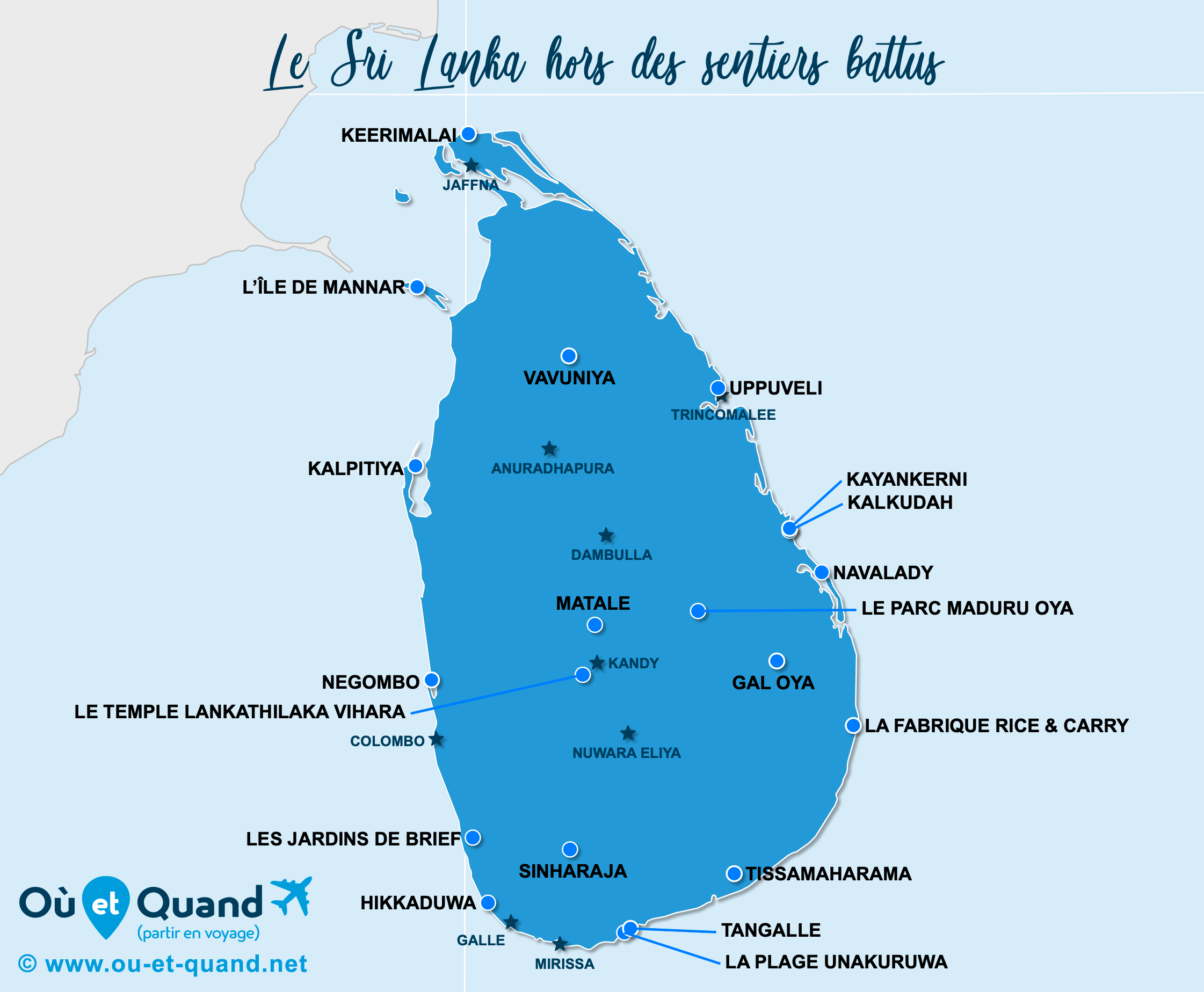 Carte Sri Lanka : Le Sri Lanka hors des sentiers battus