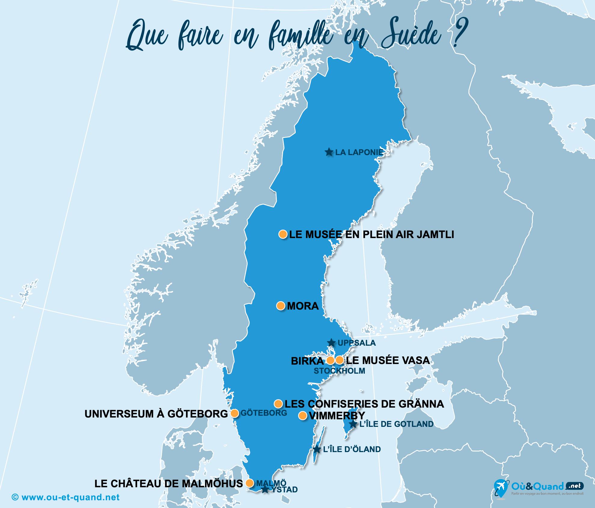 Carte Suède : La Suède en famille