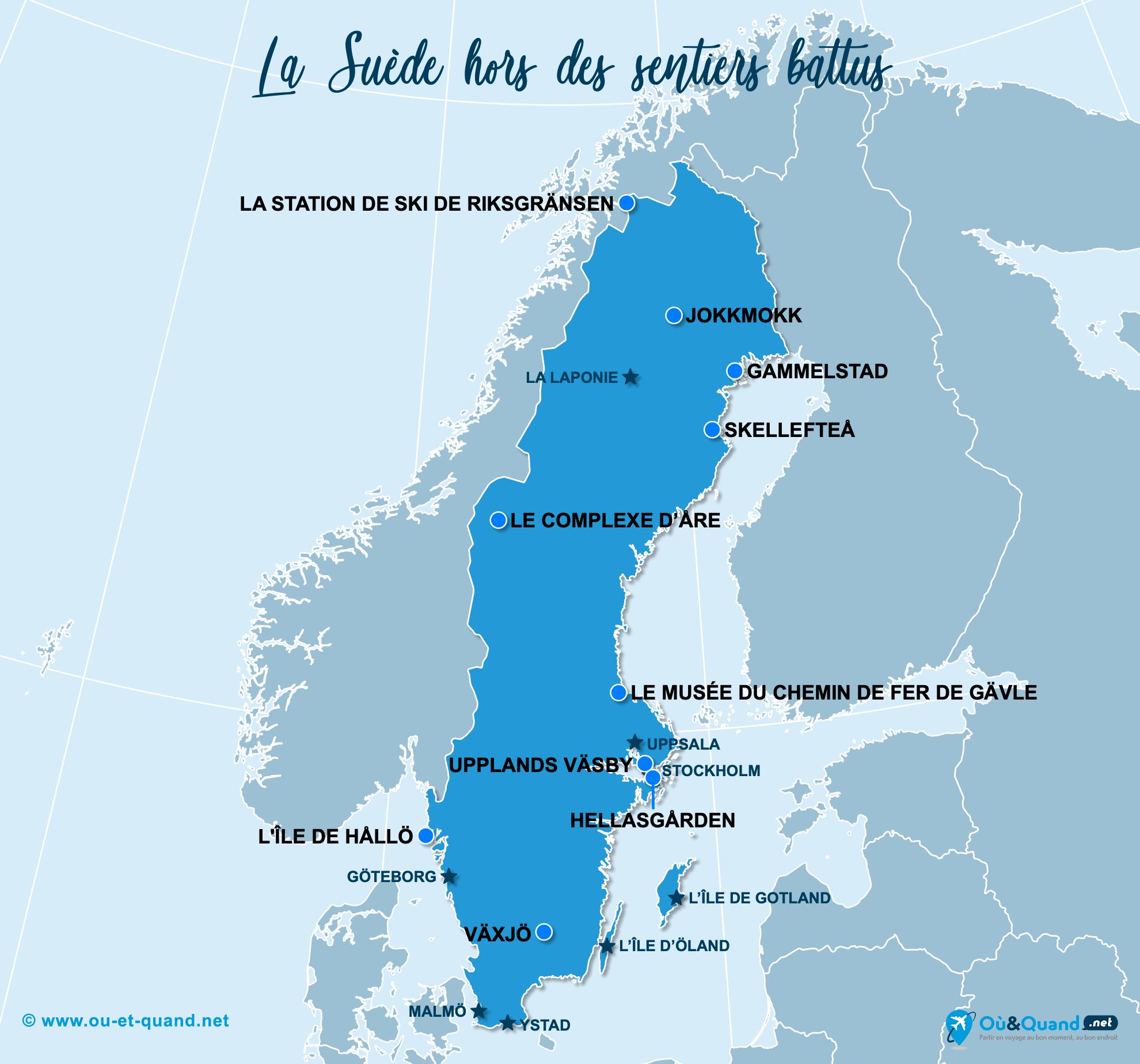 Carte Suède : La Suède hors des sentiers battus
