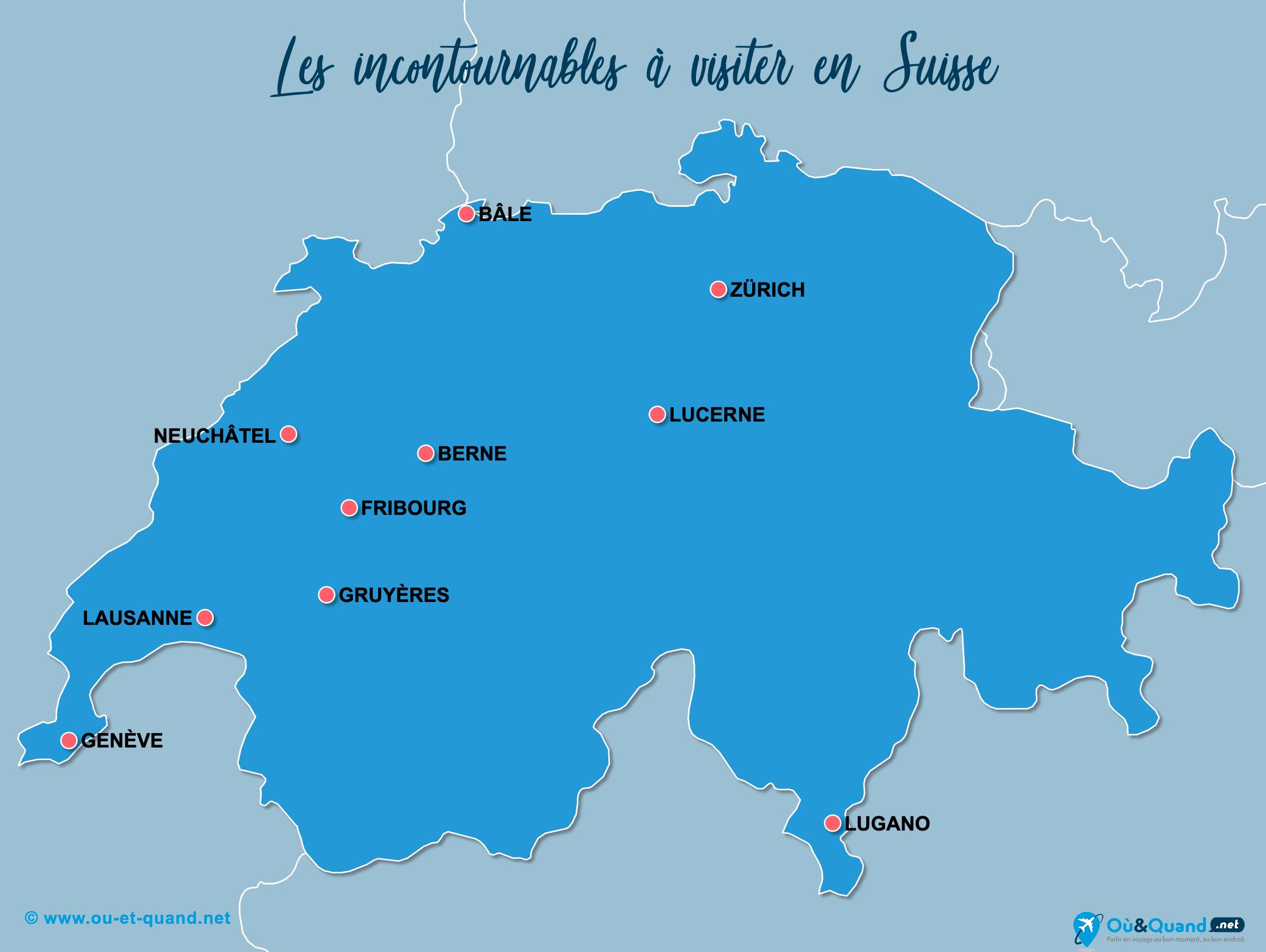 Carte Incontournables Suisse