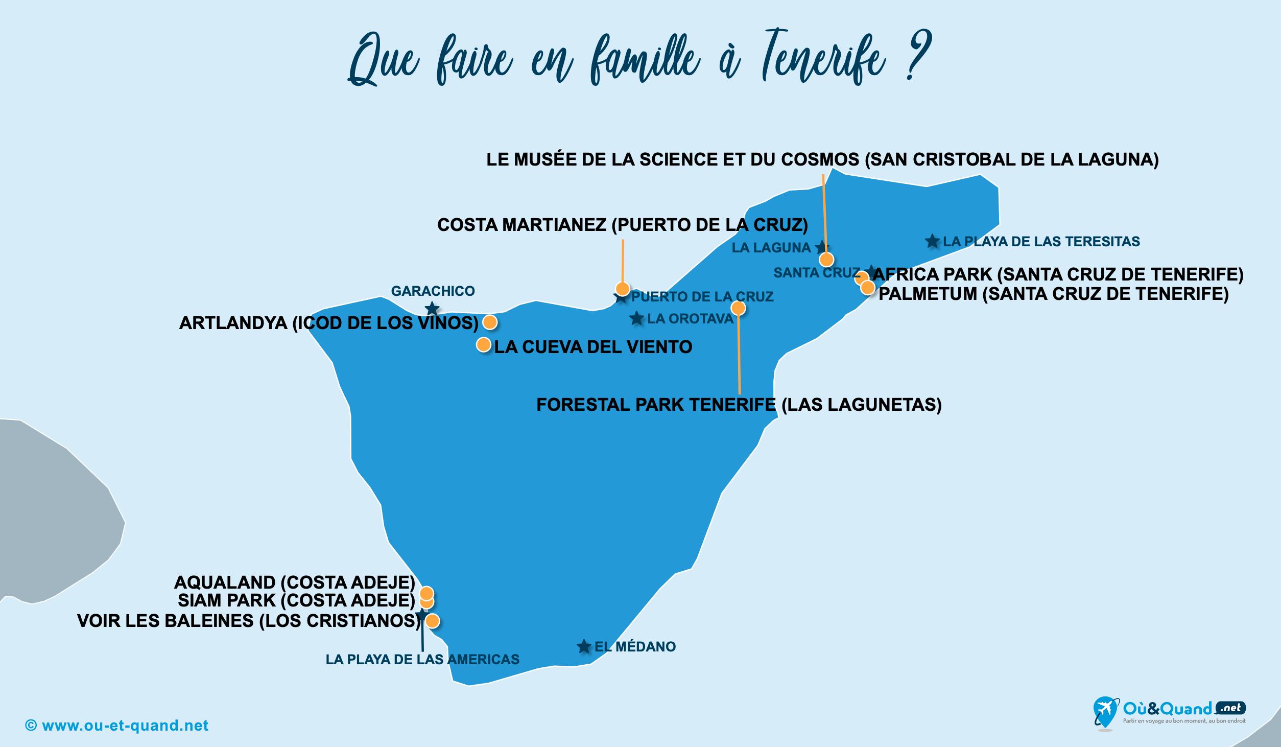 Carte Tenerife : Tenerife en famille