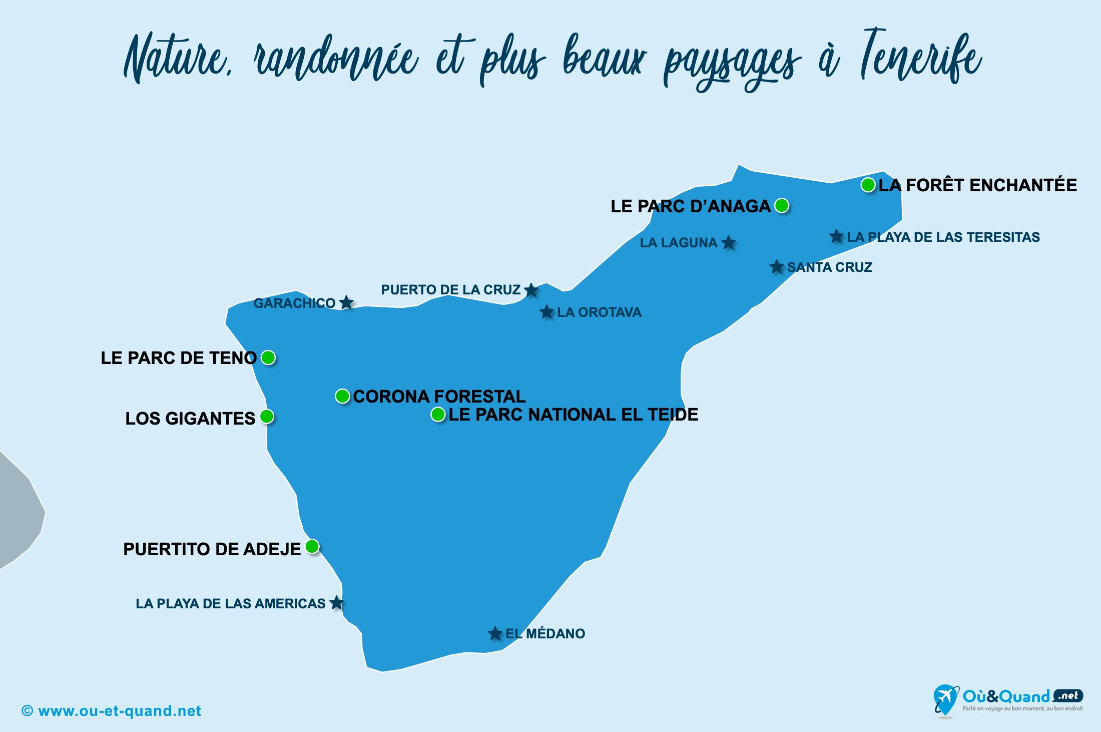 Carte Tenerife : Les plus beaux paysages de Tenerife