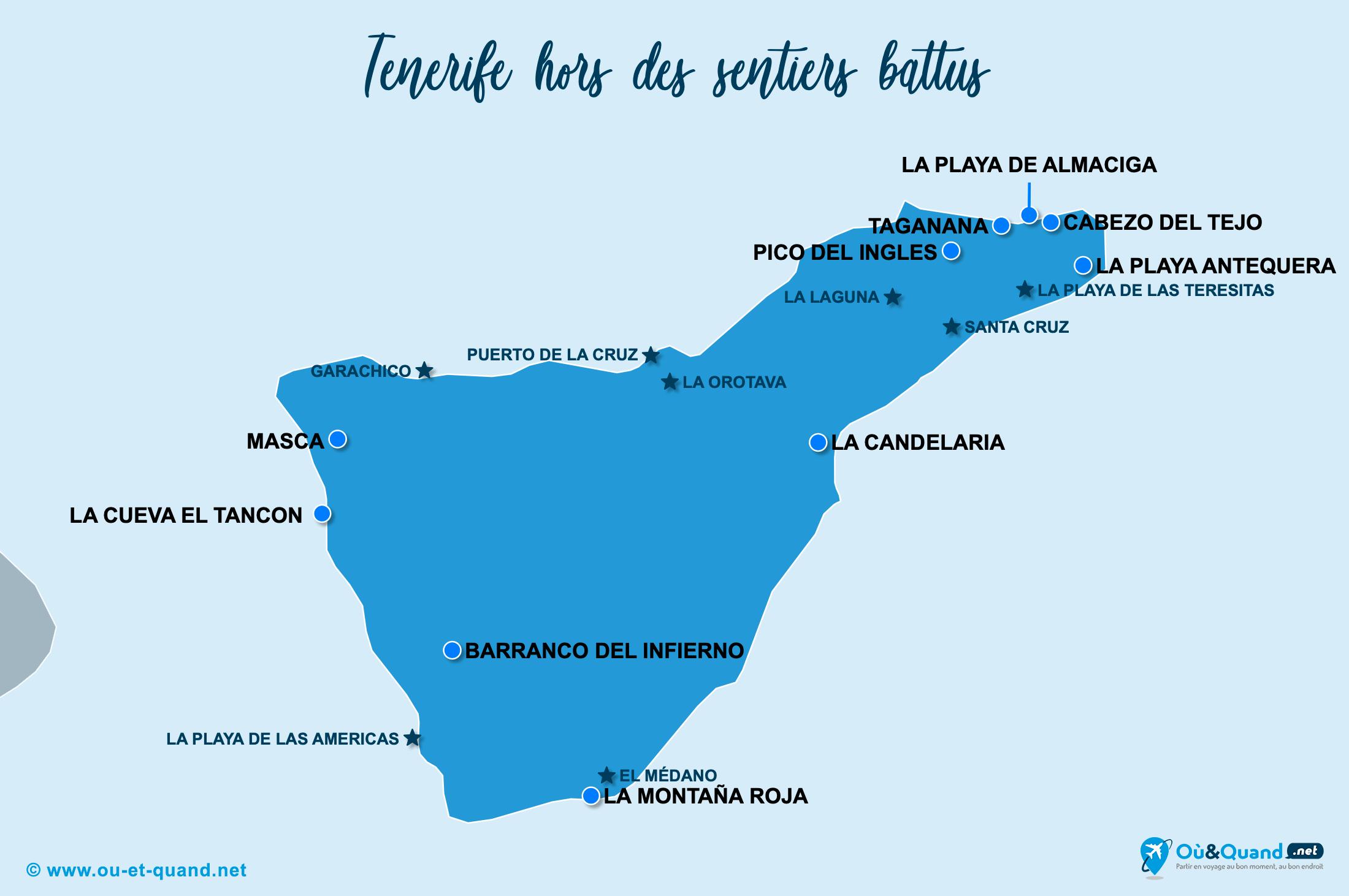 Carte Tenerife : Tenerife hors des sentiers battus