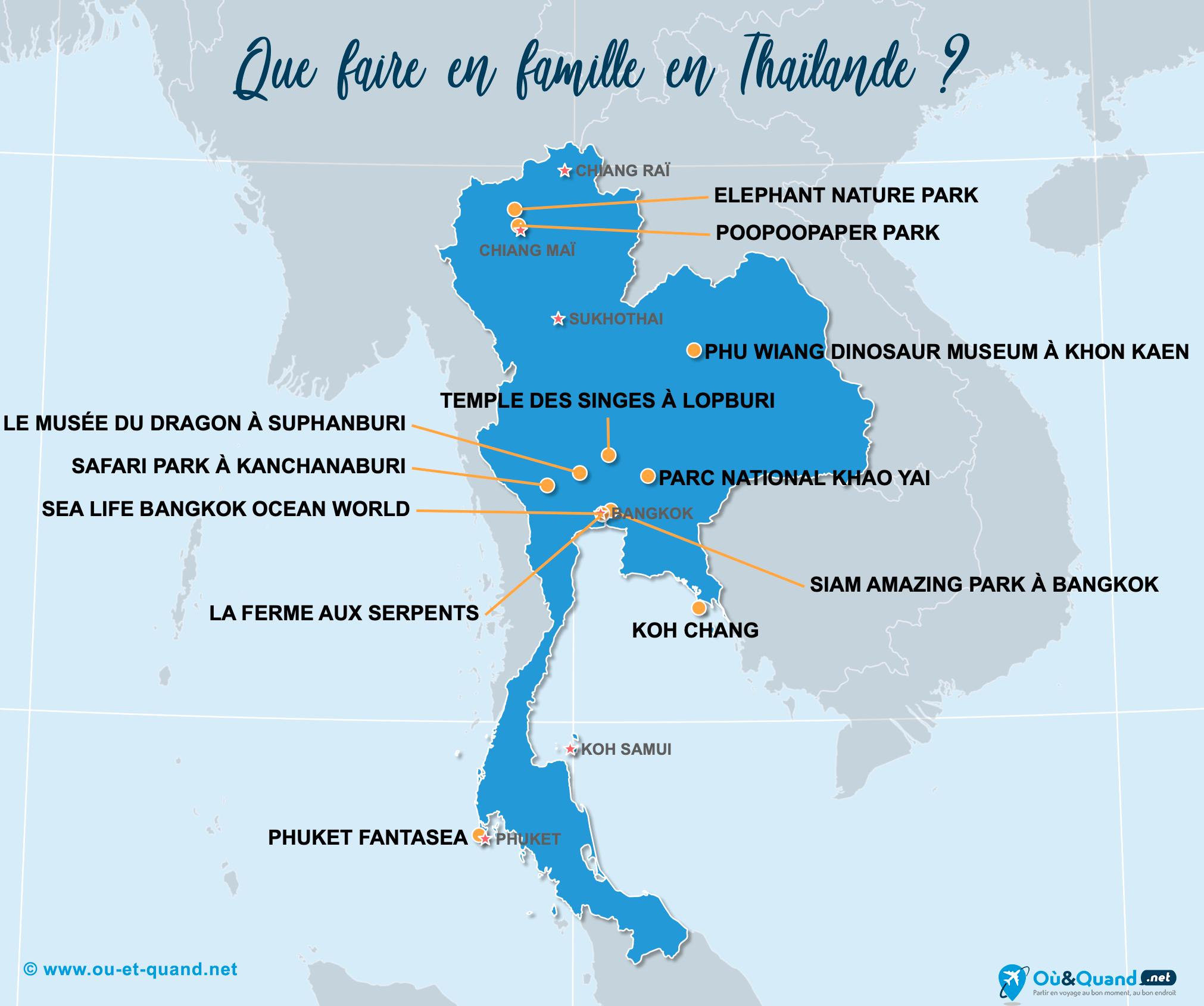 Carte Thaïlande : La Thaïlande en famille