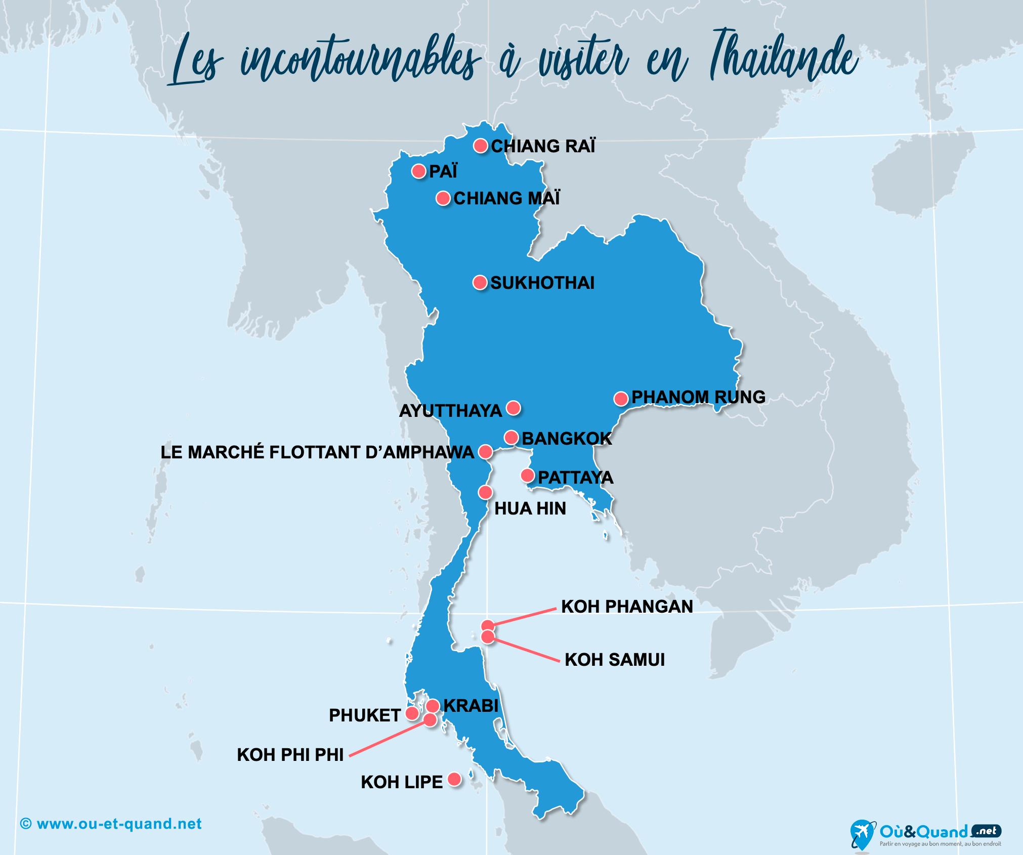 Carte Thaïlande : Les lieux incontournables en Thaïlande