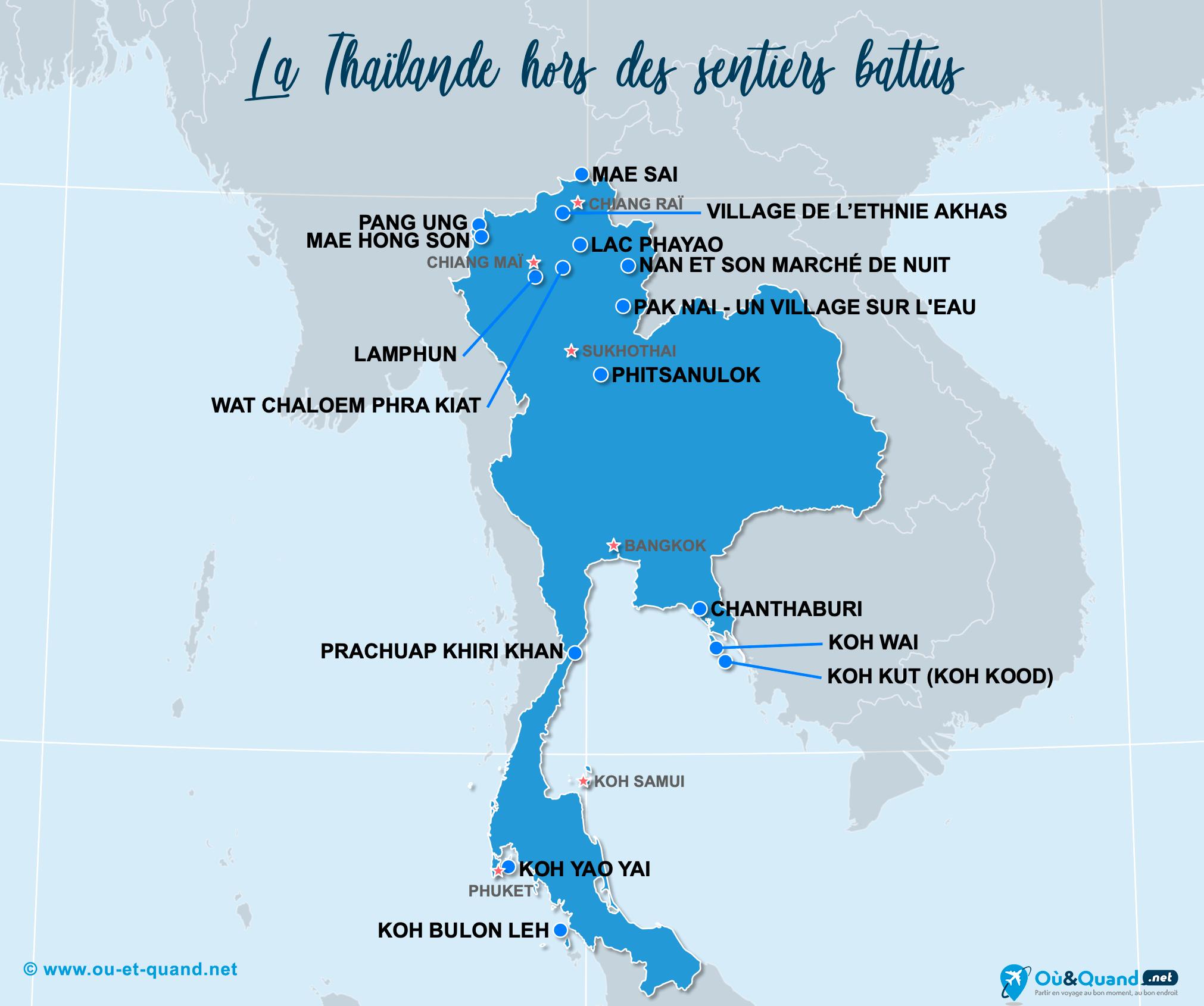 Carte Thaïlande : La Thaïlande hors des sentiers battus