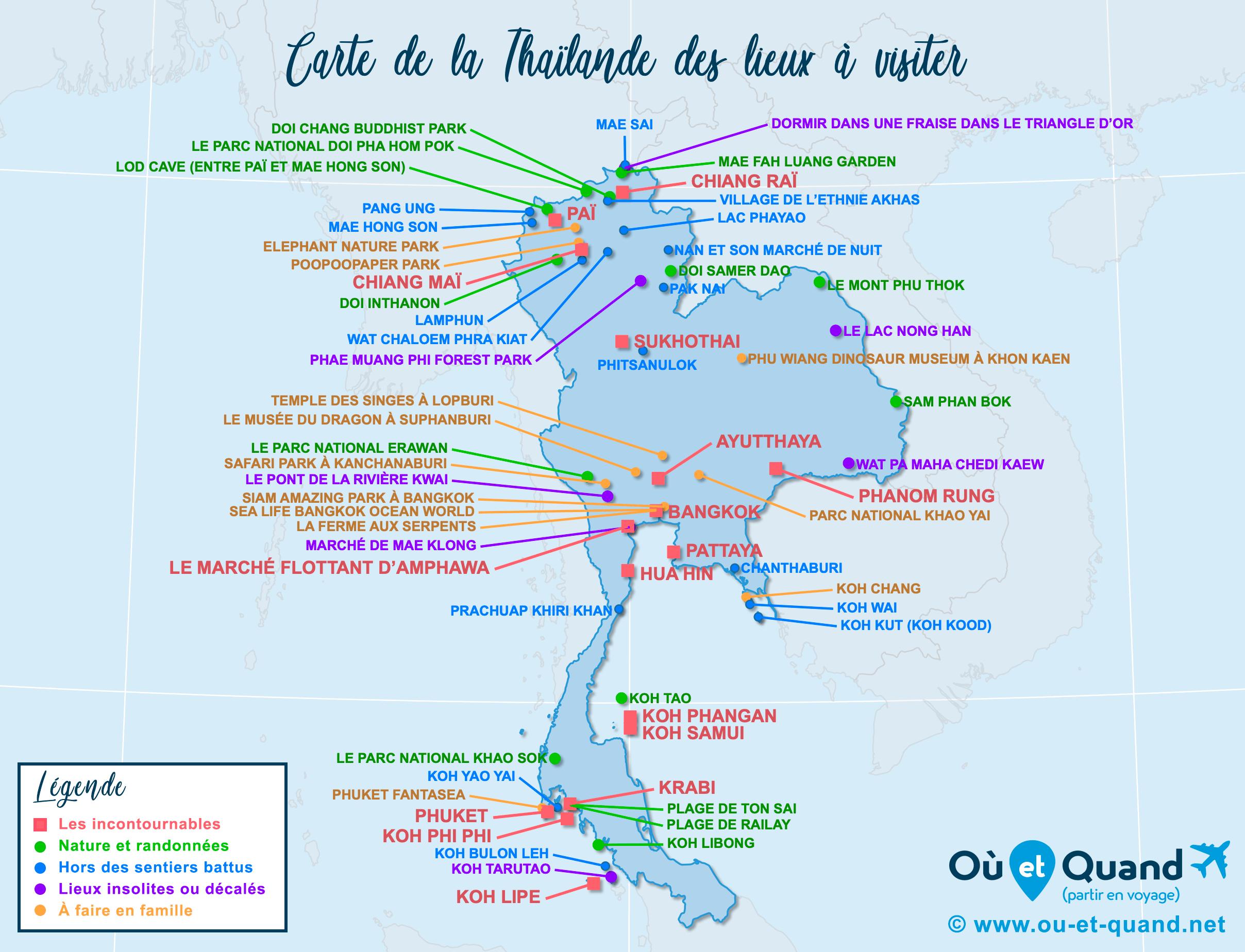 Carte Thaïlande : tous les lieux à visiter lors de votre voyage