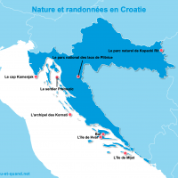Carte Croatie : La Croatie 100% nature et randonnées
