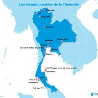Carte : Les lieux incontournables en Thaïlande