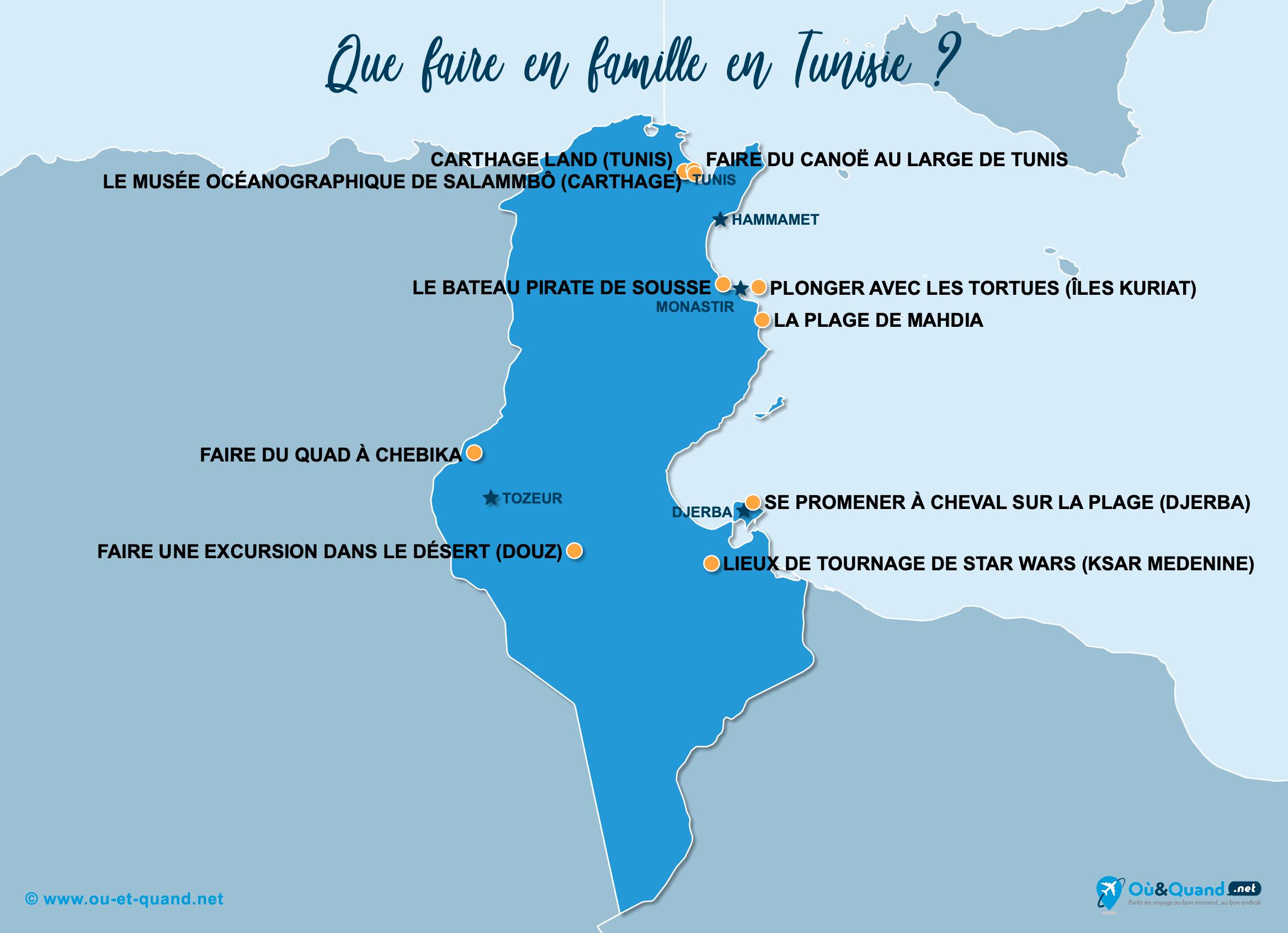 Carte Tunisie : La Tunisie en famille