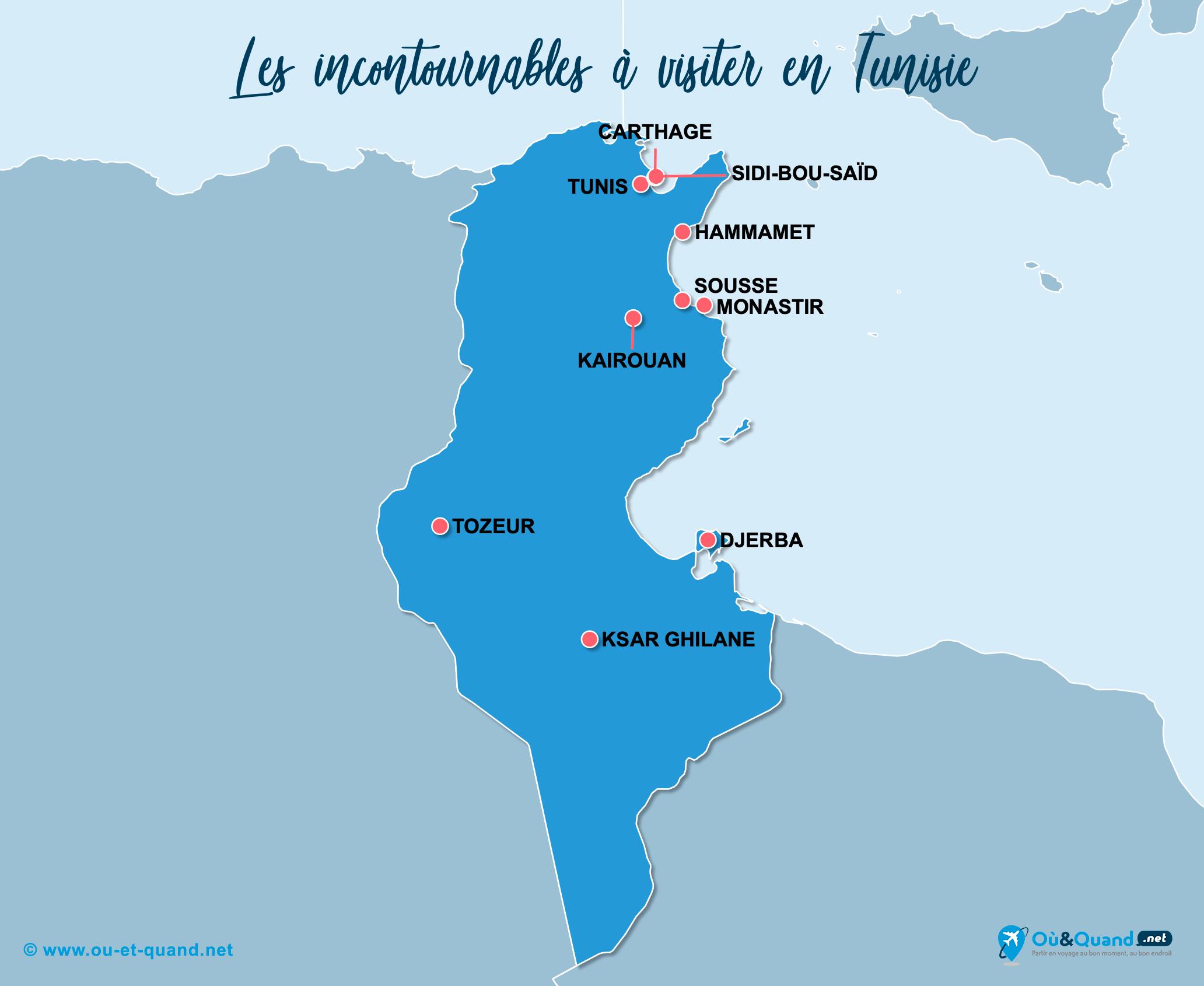 Carte Tunisie : Les lieux incontournables en Tunisie