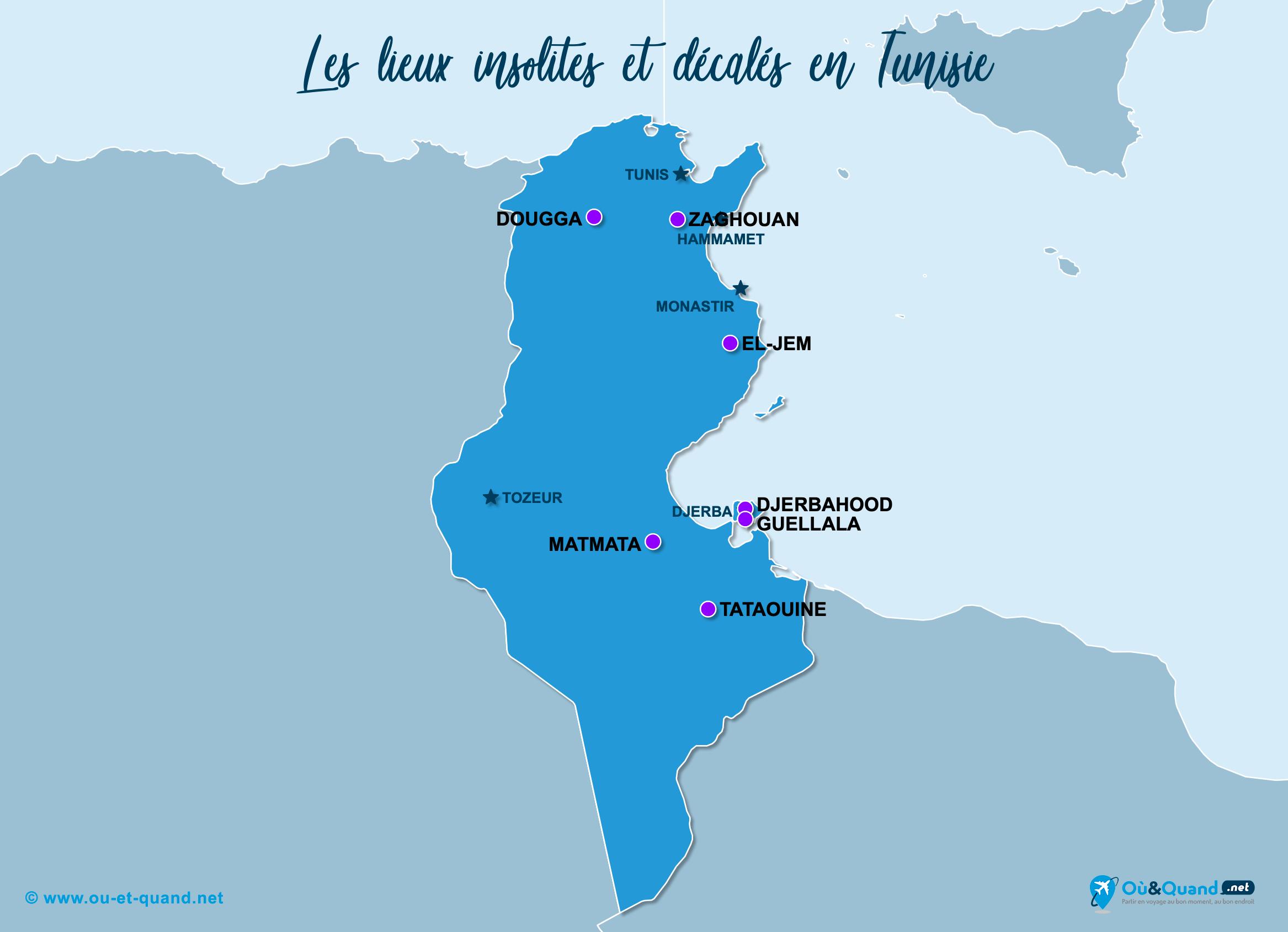 Carte Tunisie : La Tunisie insolite